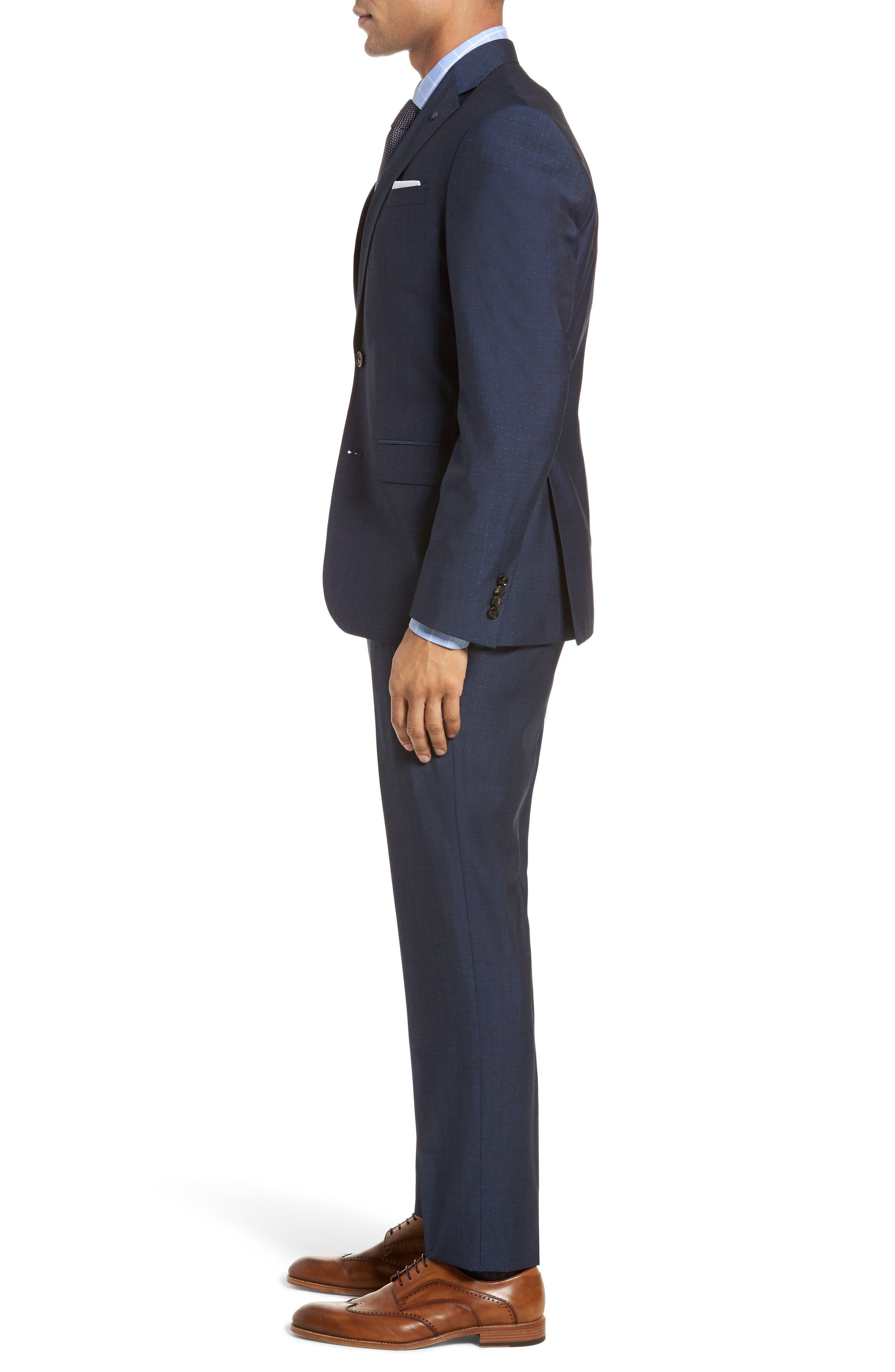 Roger Extra Slim Fit Dot Wool Suit,                             Alternate thumbnail 3, color,                             Dark Blue