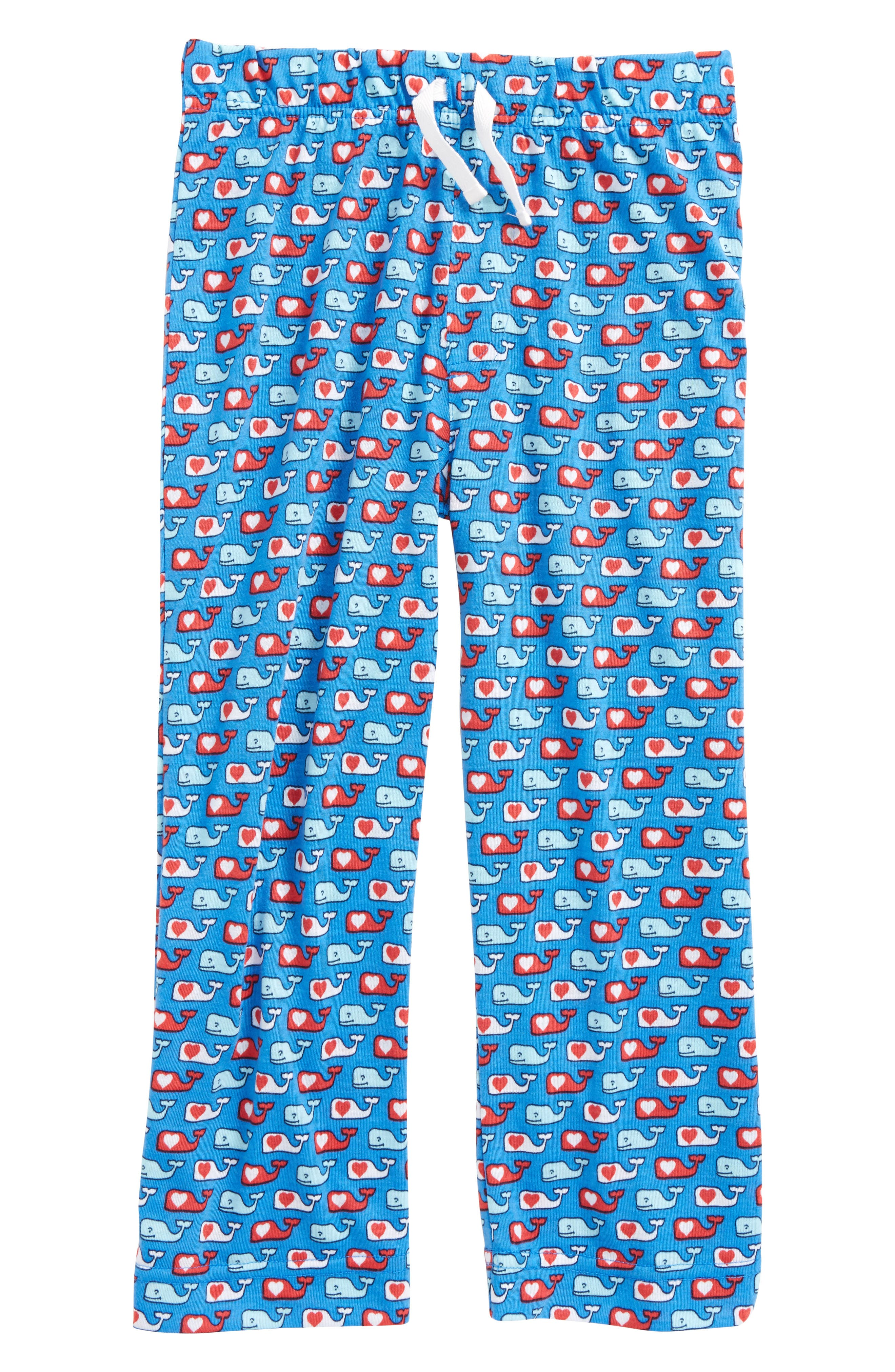 Valentine's Day Whale Lounge Pants,                         Main,                         color, Hull Blue