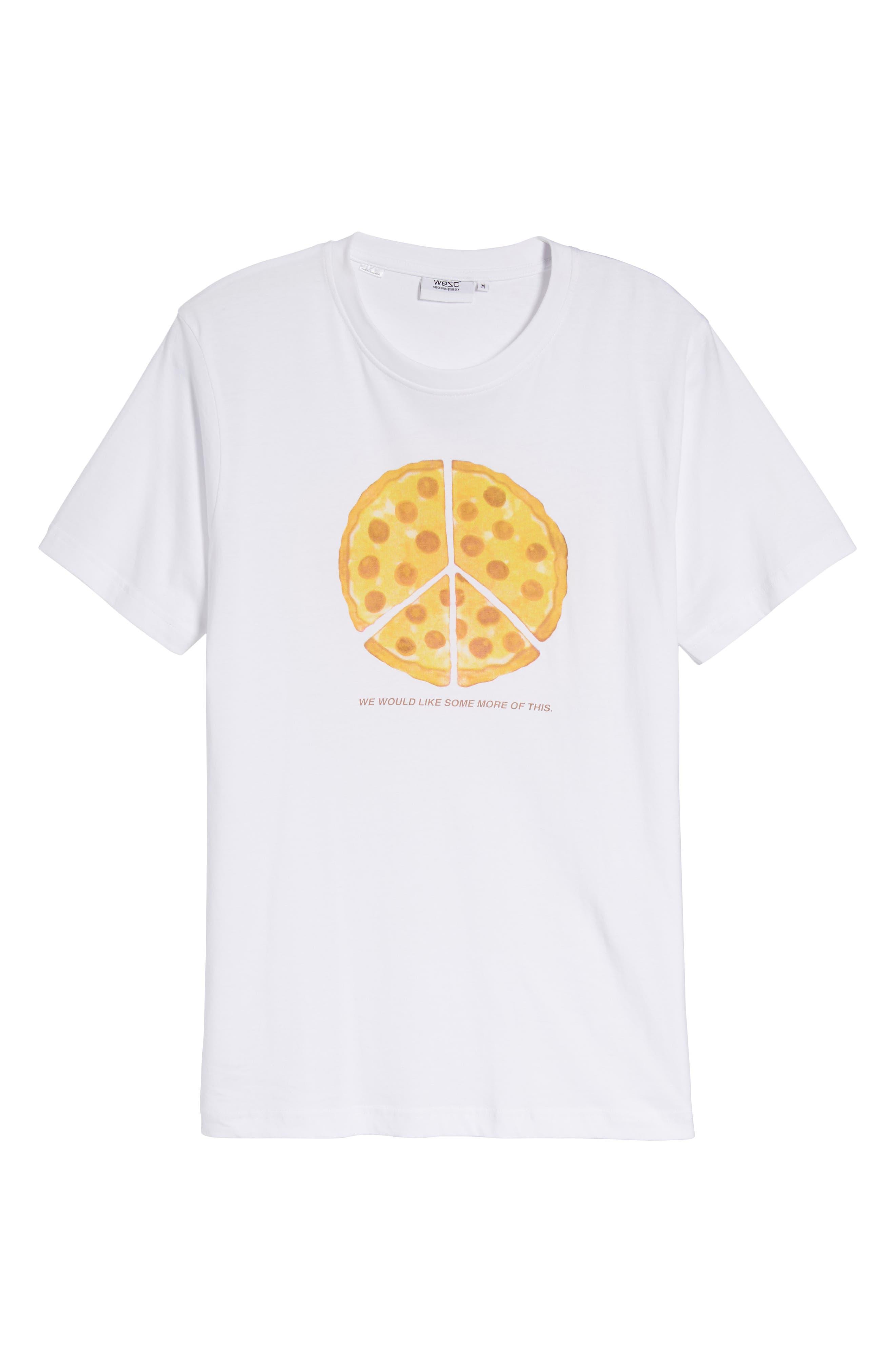 Max Peace Pizza Graphic T-Shirt,                             Alternate thumbnail 6, color,                             White