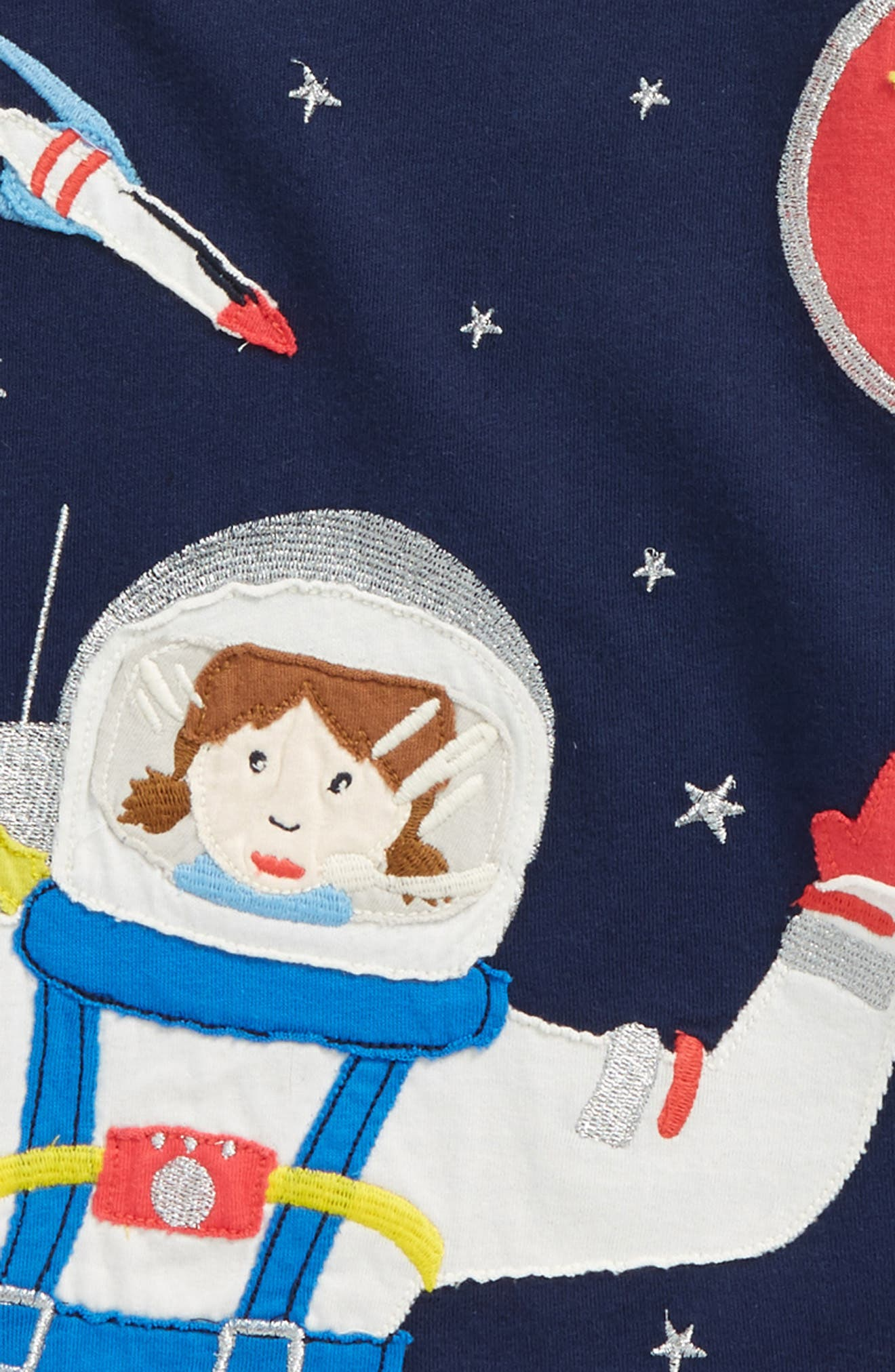 Space Girl Appliqué Tee,                             Alternate thumbnail 2, color,                             School Navy