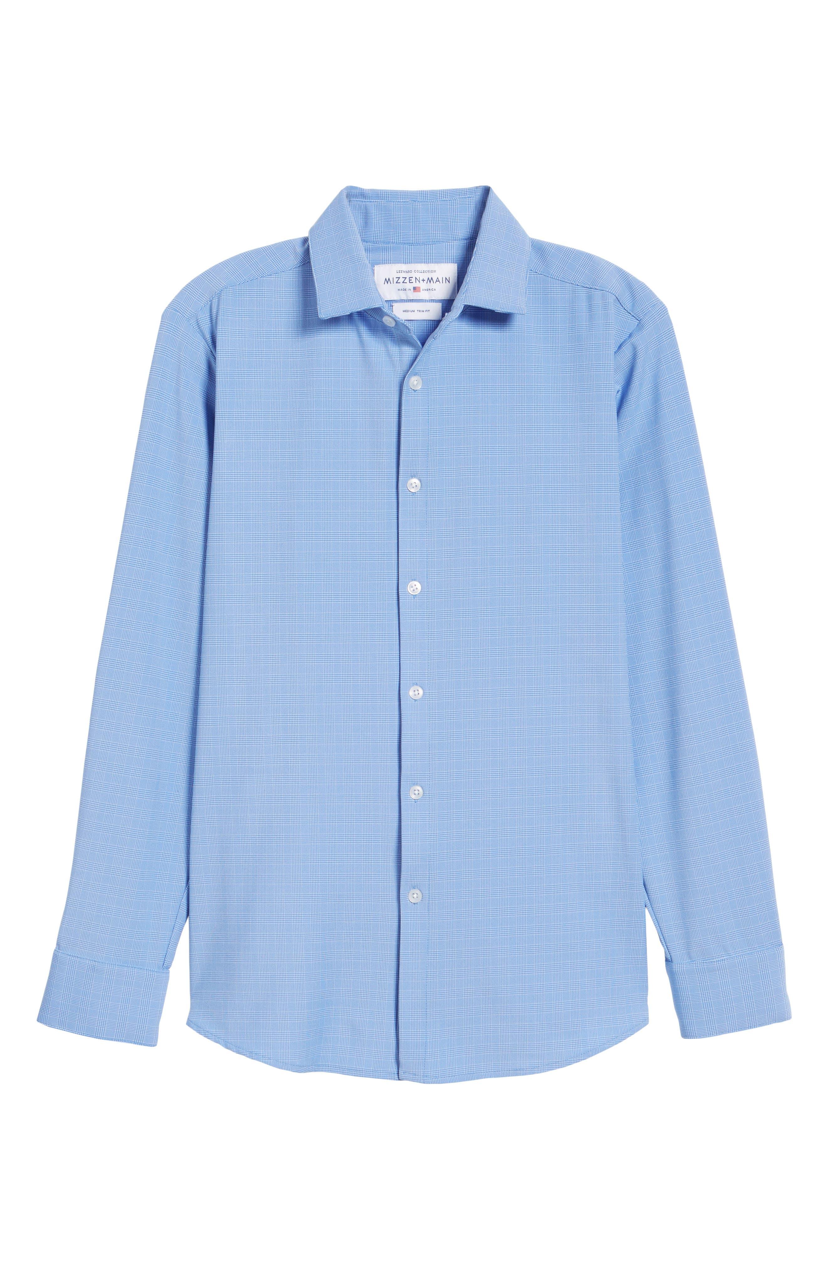 Maverick Slim Fit Plaid Sport Shirt,                             Alternate thumbnail 6, color,                             Blue