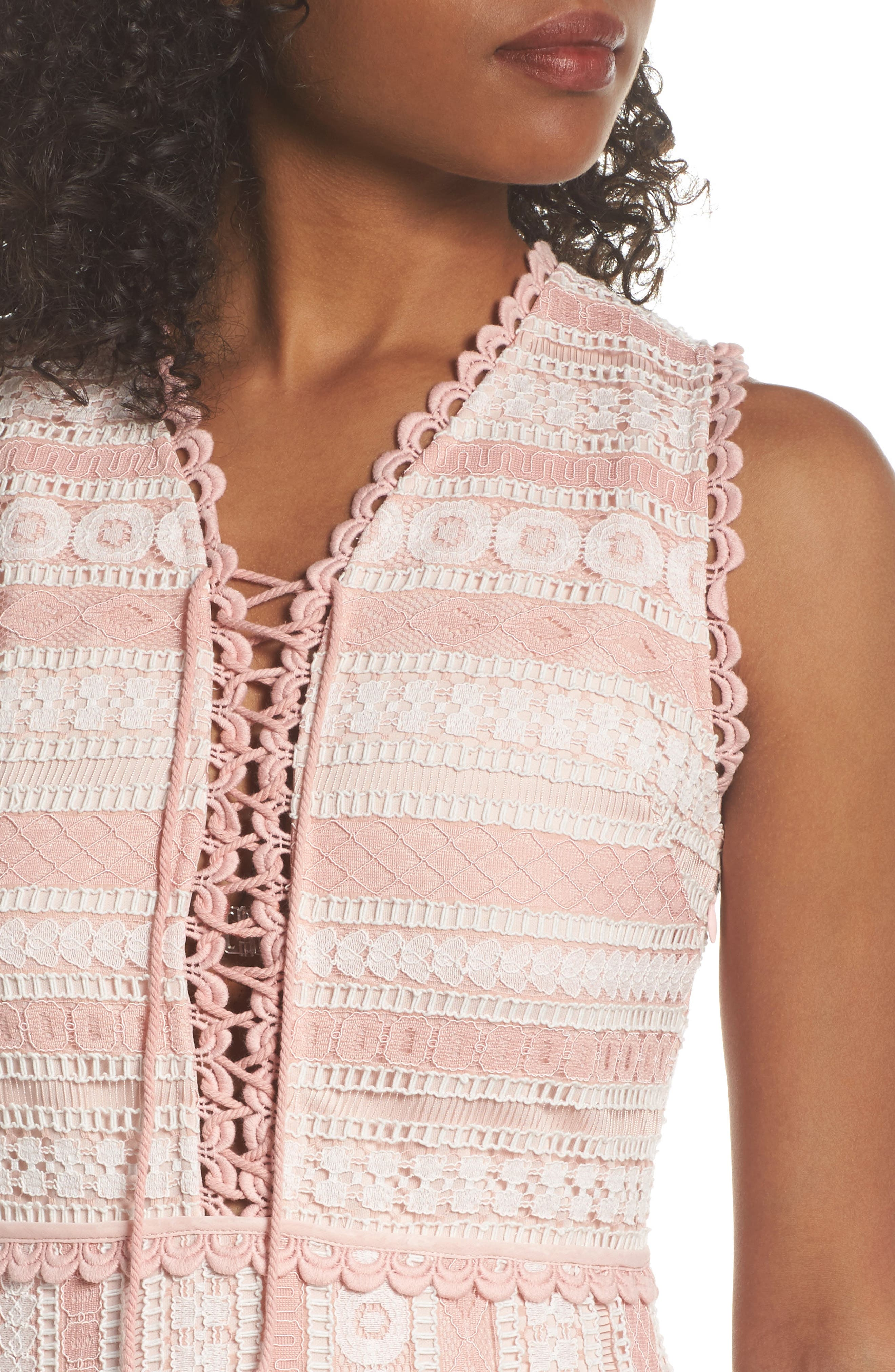 Clarinda Lace Midi Dress,                             Alternate thumbnail 4, color,                             Pink