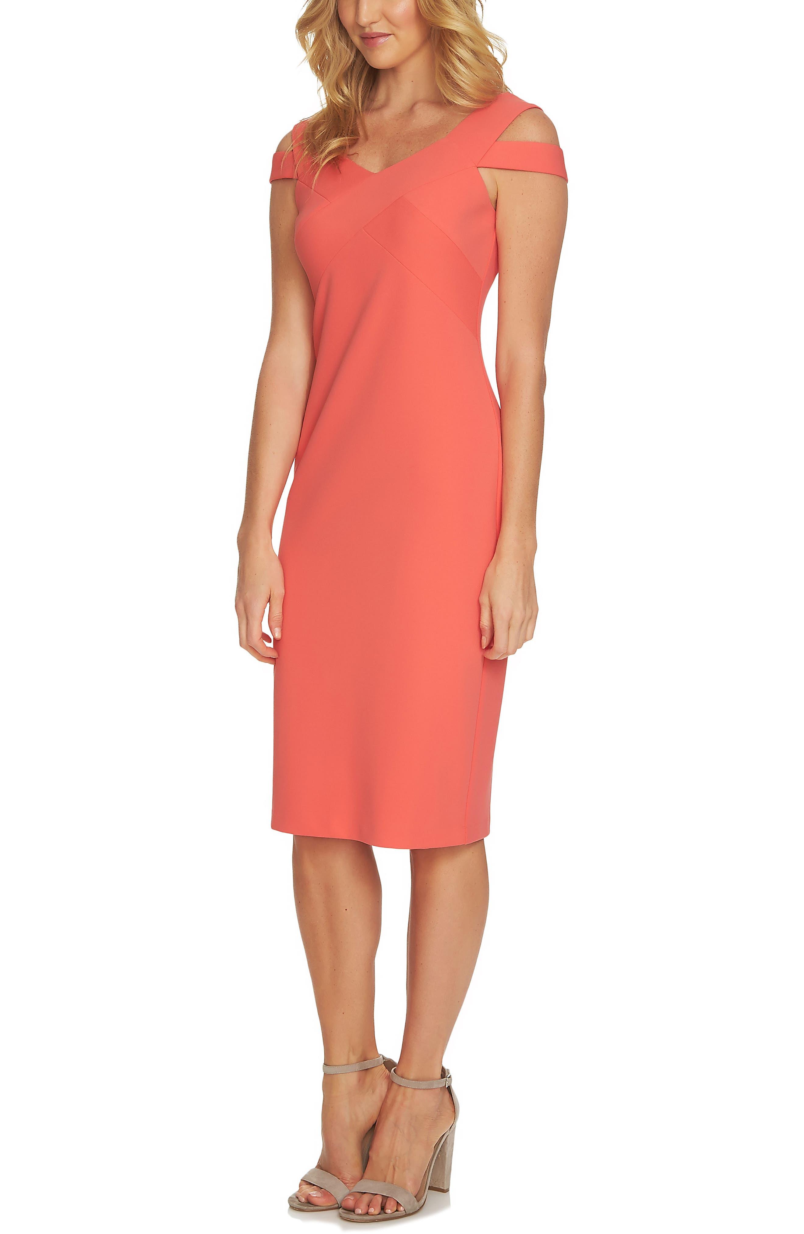 Cold Shoulder Crisscross A-Line Dress,                             Main thumbnail 1, color,                             Coral Bloom