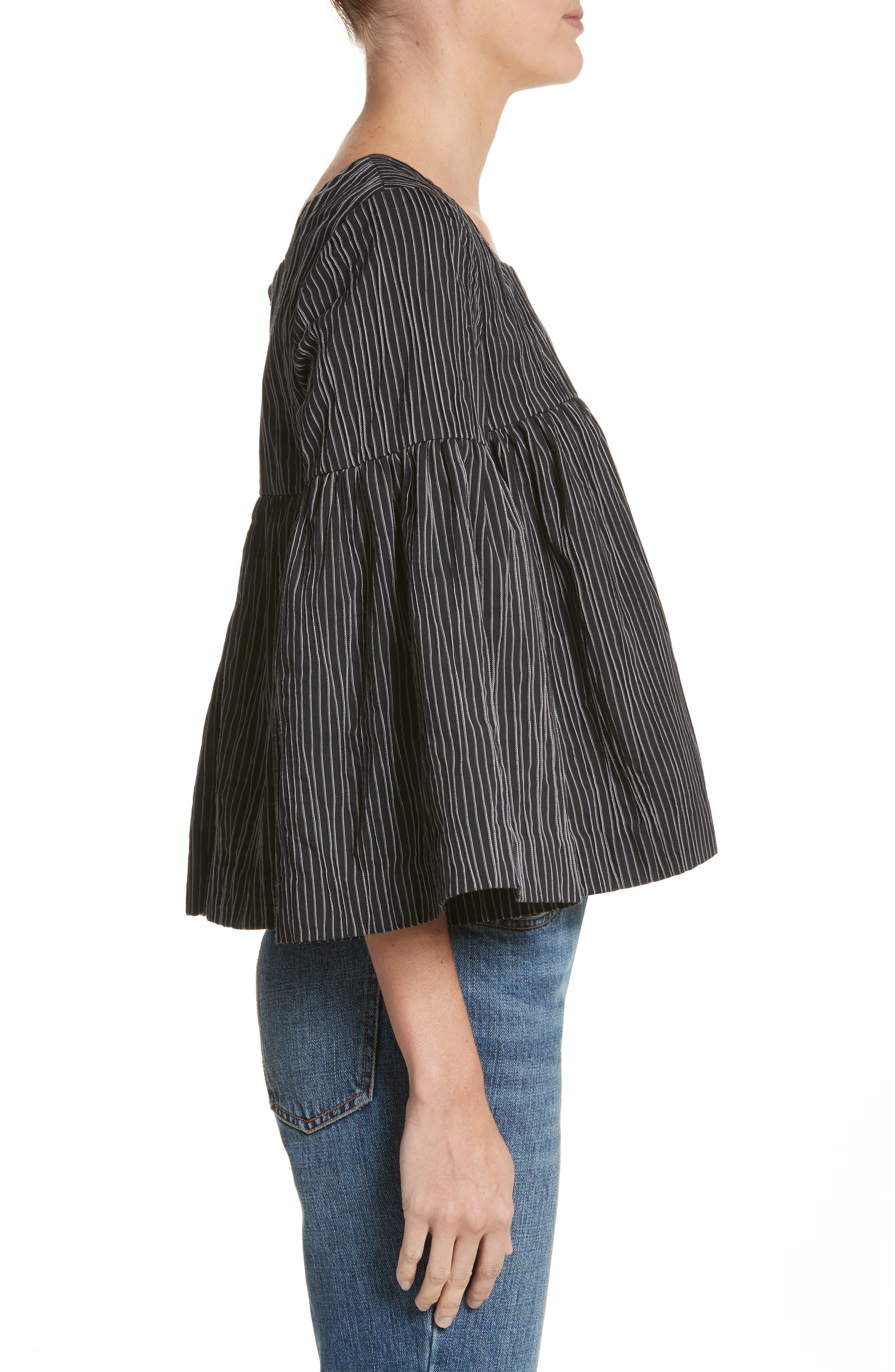 Stripe Crinkle Cotton Blend Swing Top,                             Alternate thumbnail 3, color,                             Black/ White Stripe