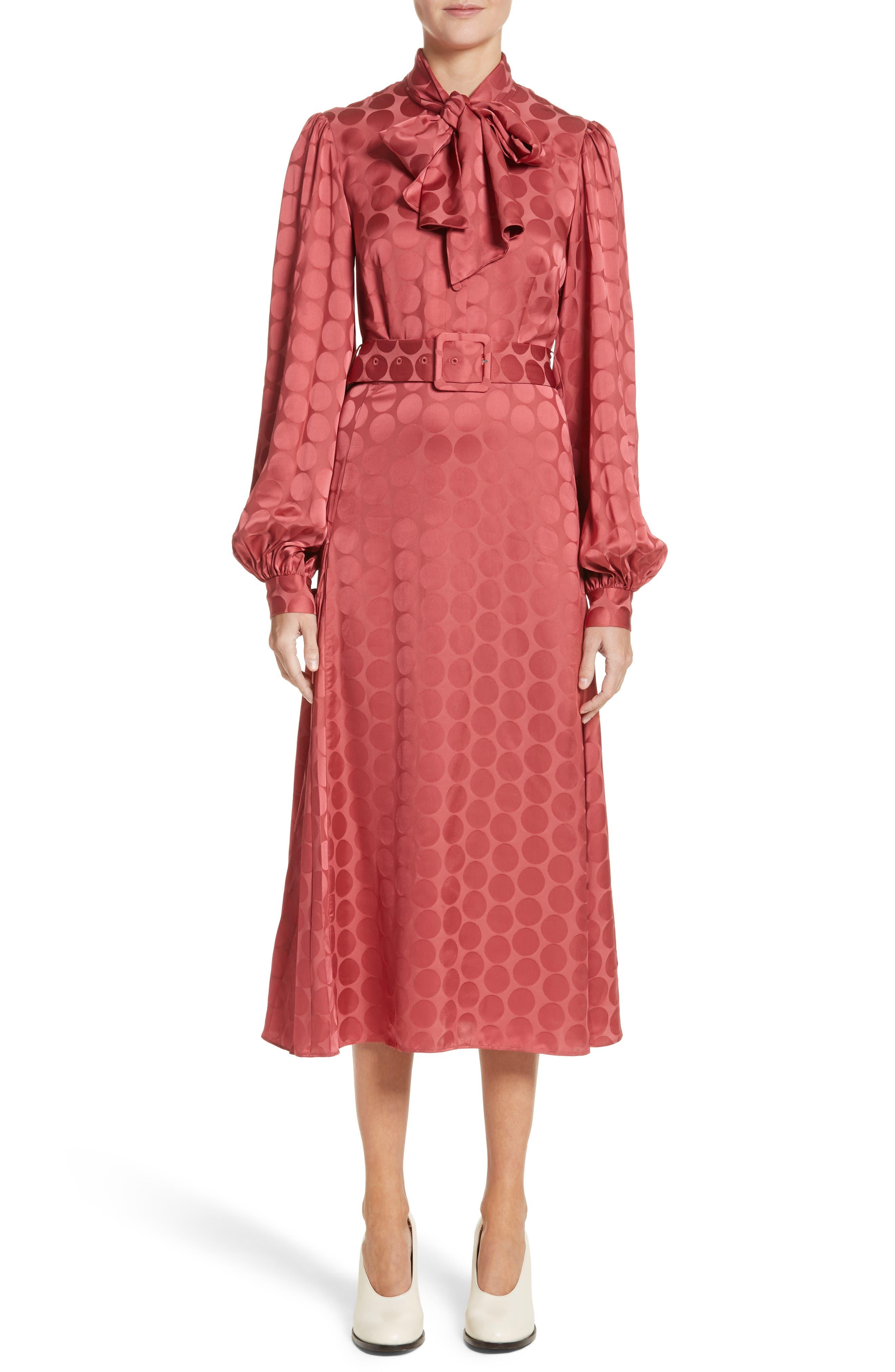 Tonal Dot Tie Neck Midi Dress,                         Main,                         color, Coral