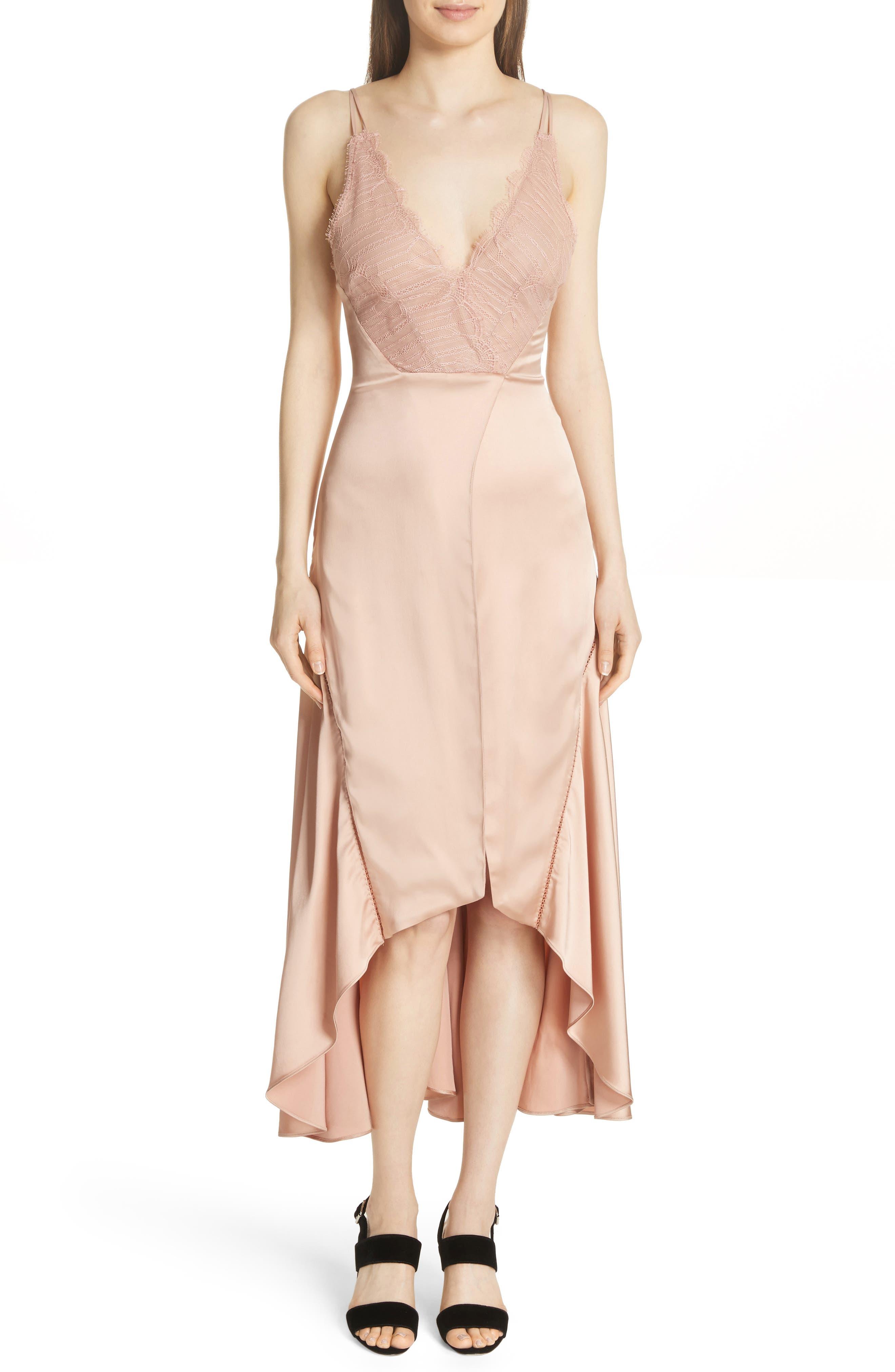 Mixed Trim Satin Handkerchief Dress,                         Main,                         color, Bronze