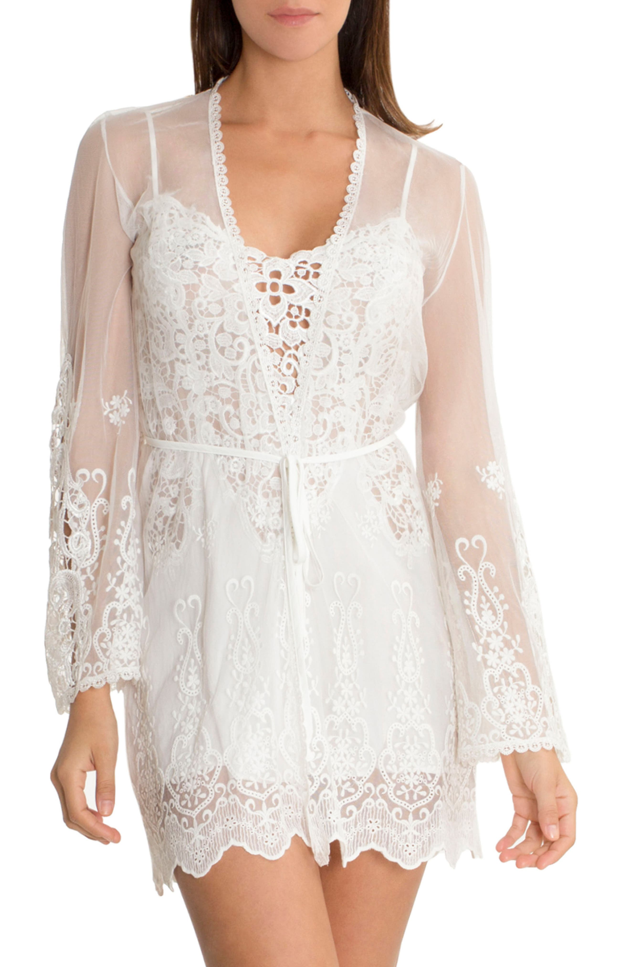 Embroidered Mesh Wrap,                         Main,                         color, Ivory