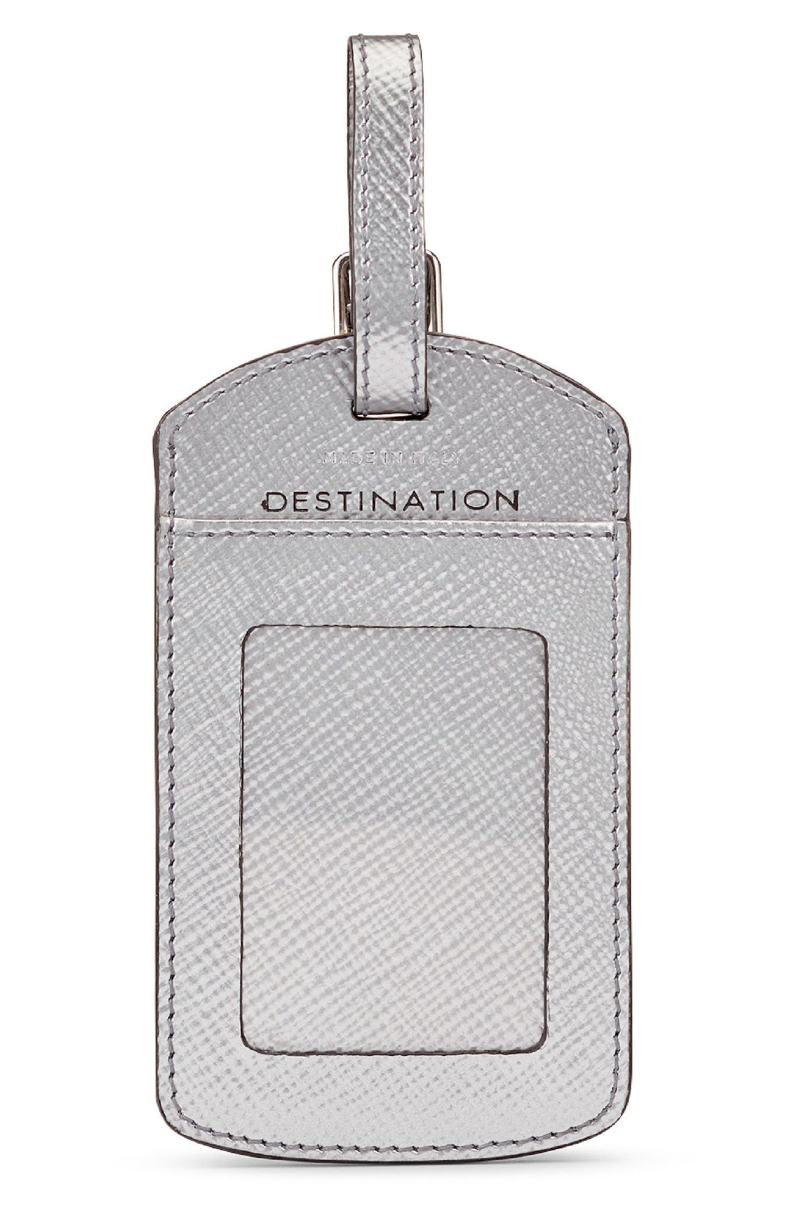 Home/Destination Calfskin Leather Luggage Tag,                             Alternate thumbnail 2, color,                             Silver