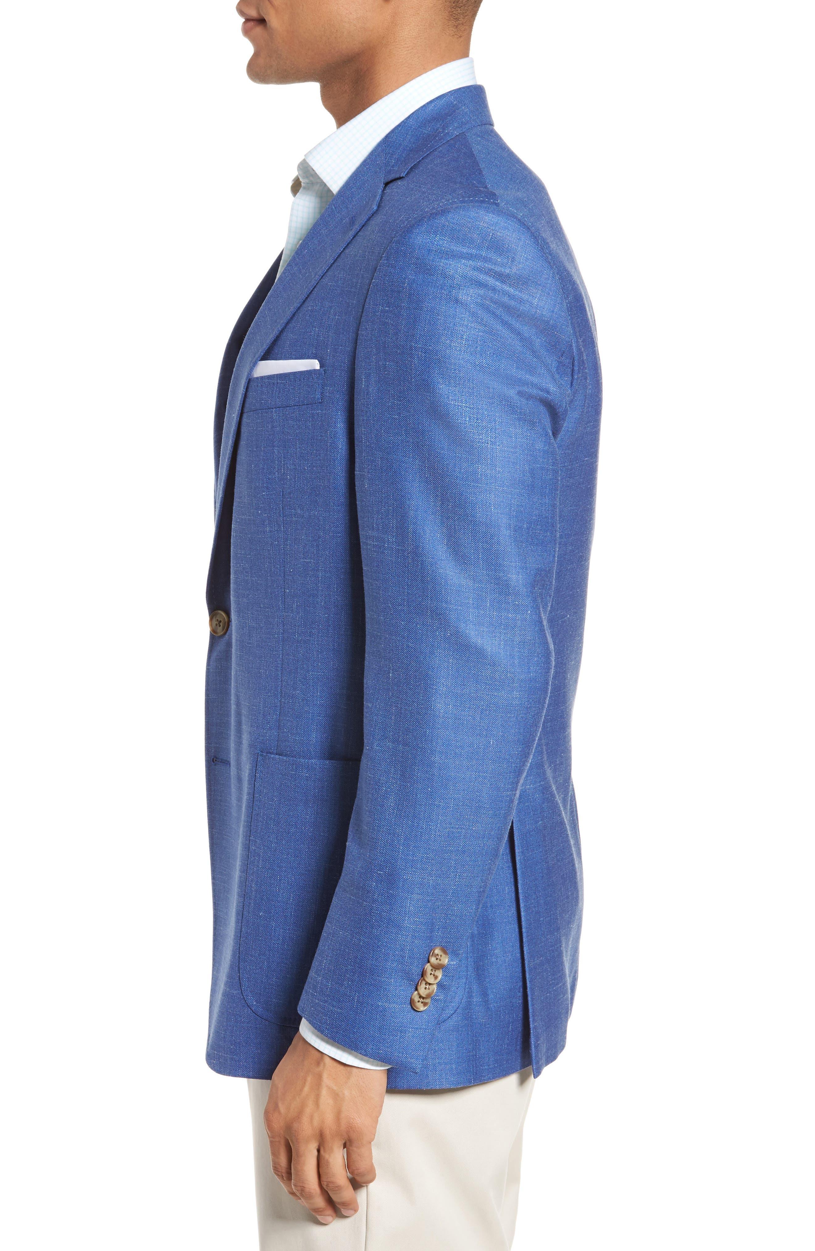 Classic Fit Wool Blend Blazer,                             Alternate thumbnail 3, color,                             Blue