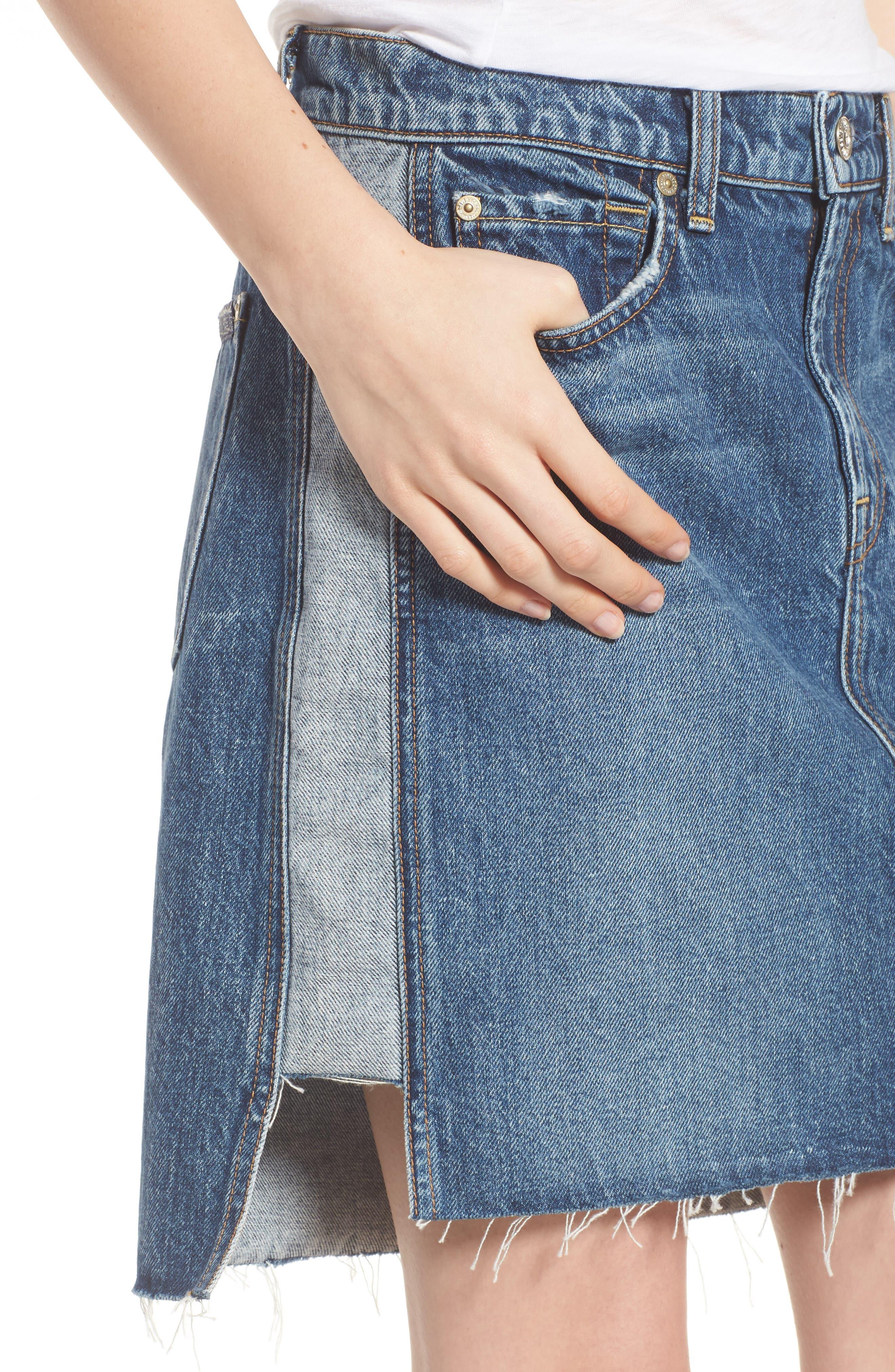 Reverse Side Panel Step Hem Denim Skirt,                             Alternate thumbnail 4, color,                             Mojave Dusk