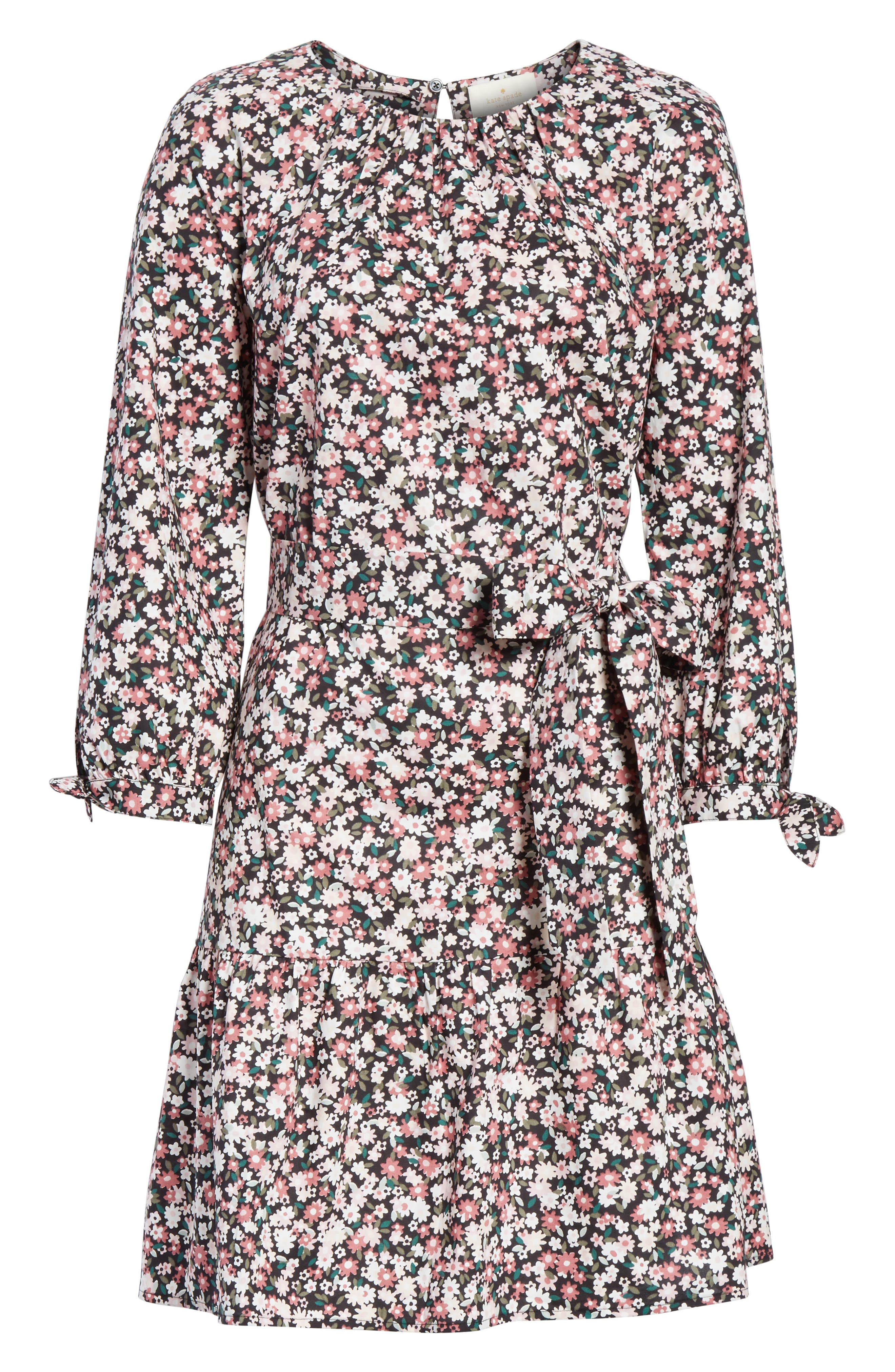 wildflower poplin dress,                             Alternate thumbnail 6, color,                             Black