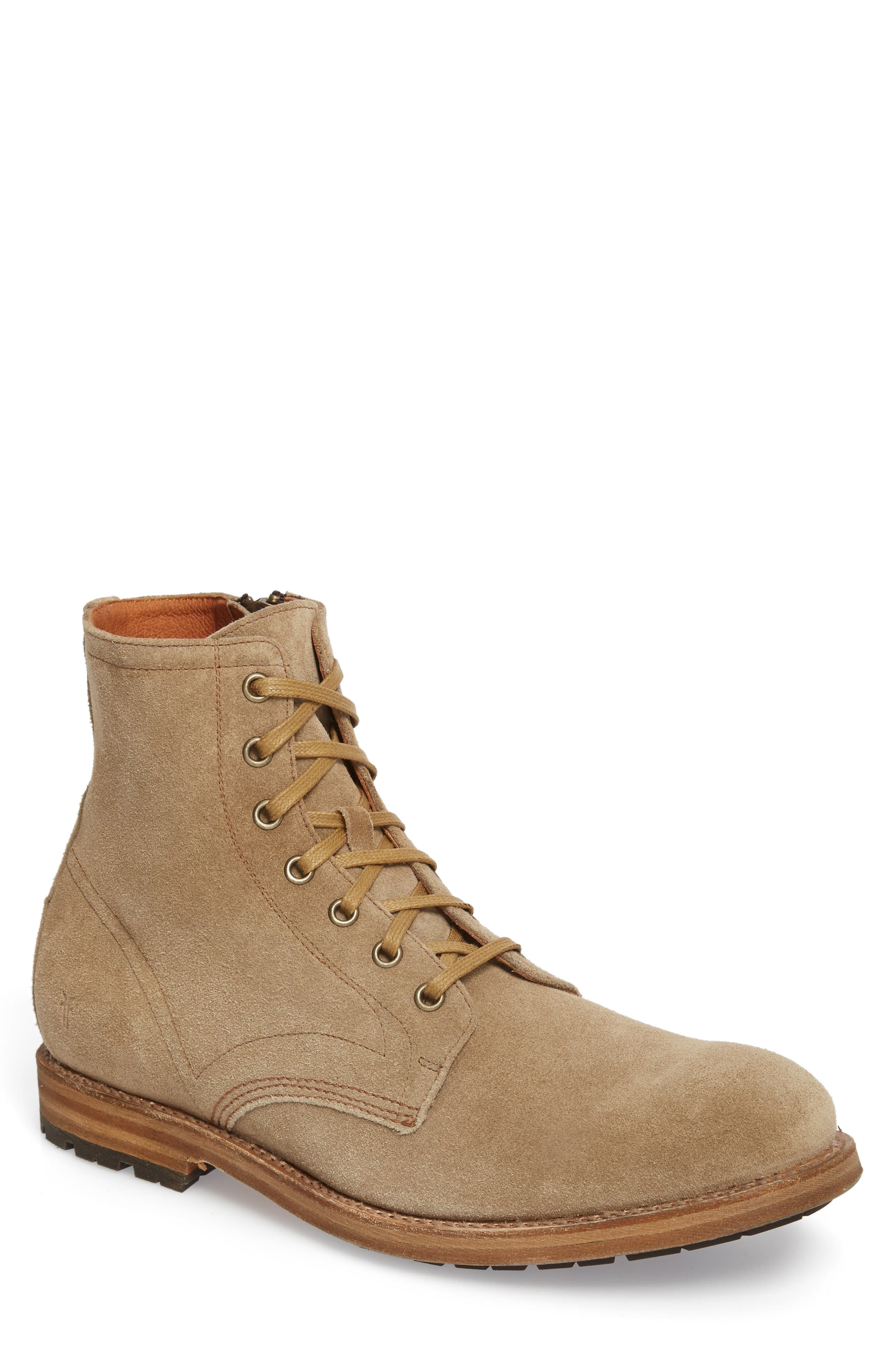 Fry Bowery Side Zip Combat Boot,                         Main,                         color, Ash Suede