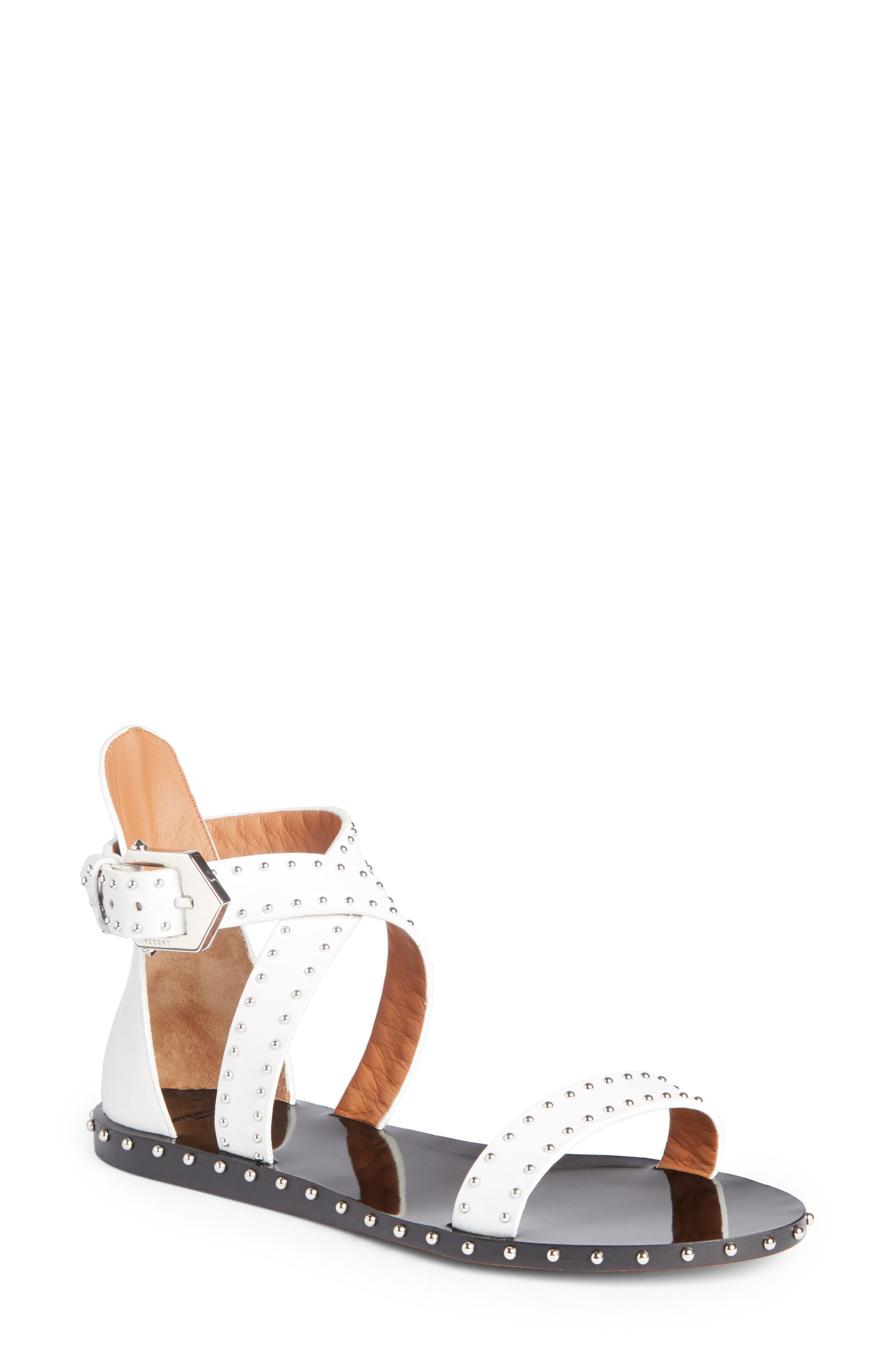 Elegant Strappy Studded Sandal,                             Main thumbnail 1, color,                             White