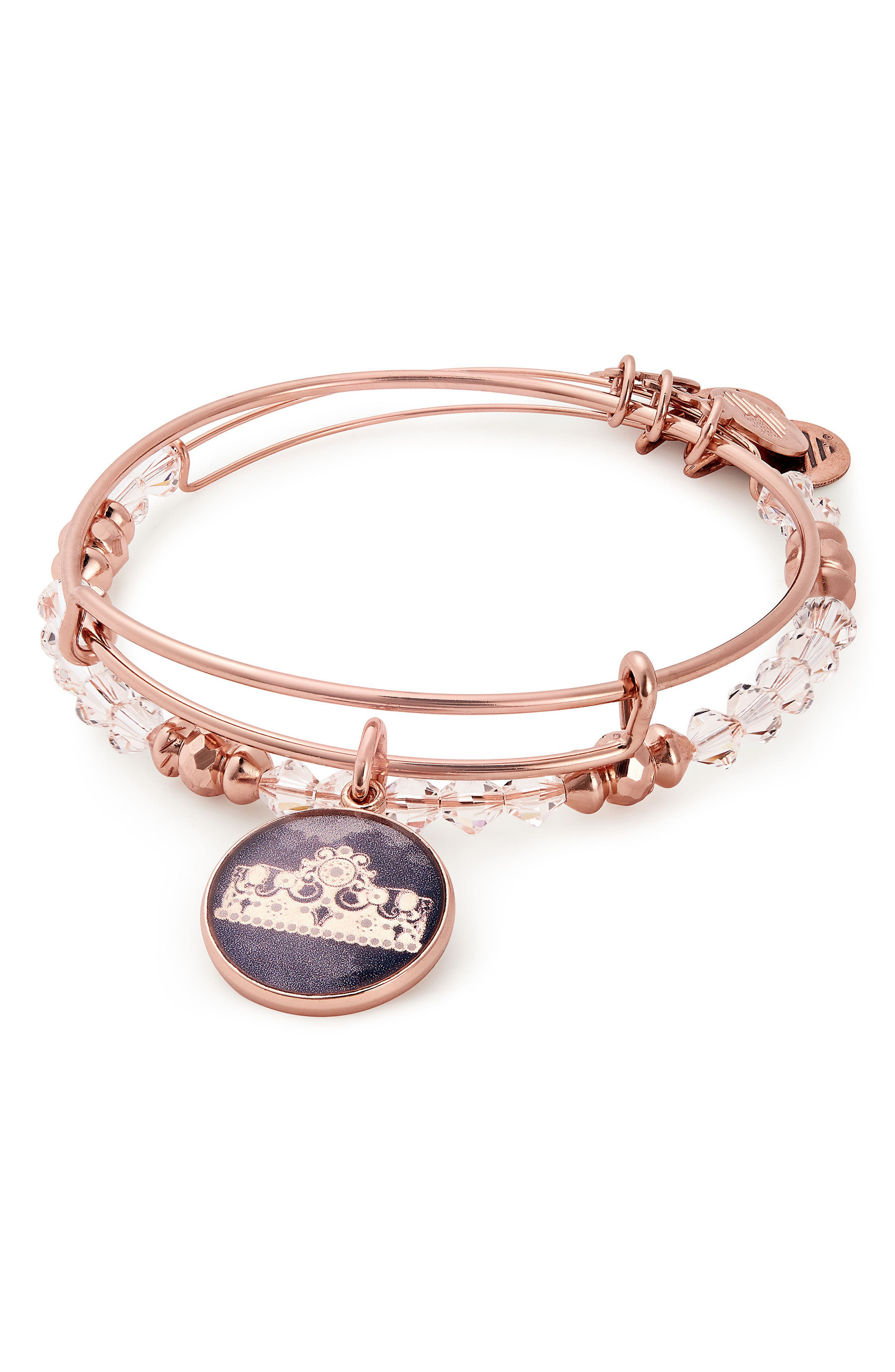 Queen's Crown Set of 2 Adjustable Wire Bangles,                             Alternate thumbnail 2, color,                             Rose Gold