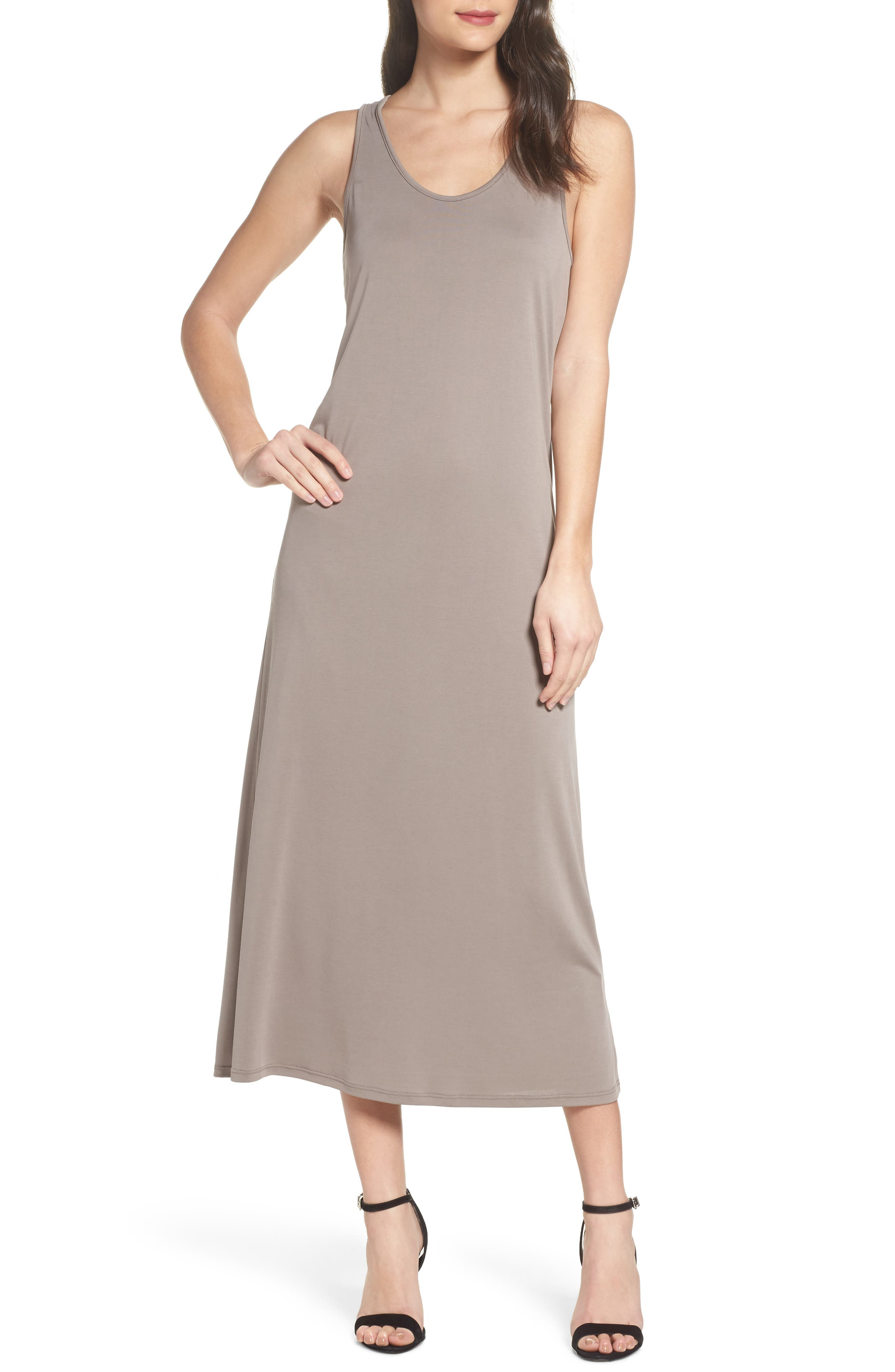 Knot Back Maxi Dress,                             Main thumbnail 1, color,                             Mocha