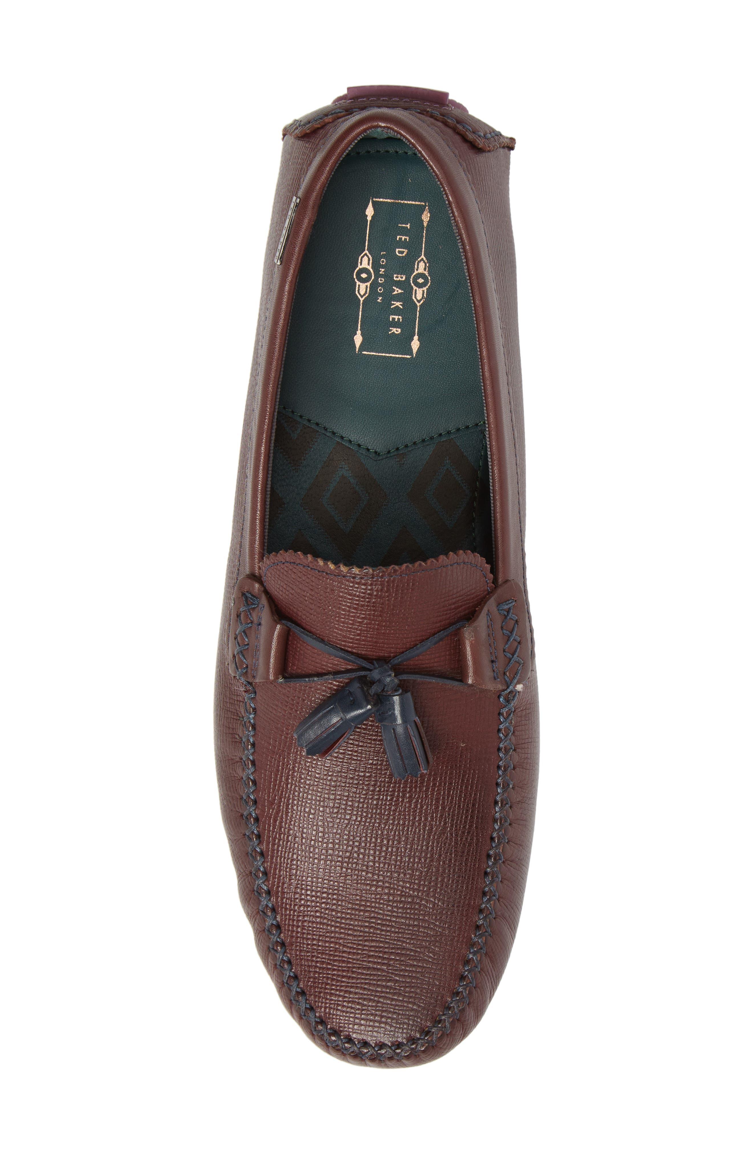 Urbonn Tasseled Driving Loafer,                             Alternate thumbnail 5, color,                             Dark Red Leather