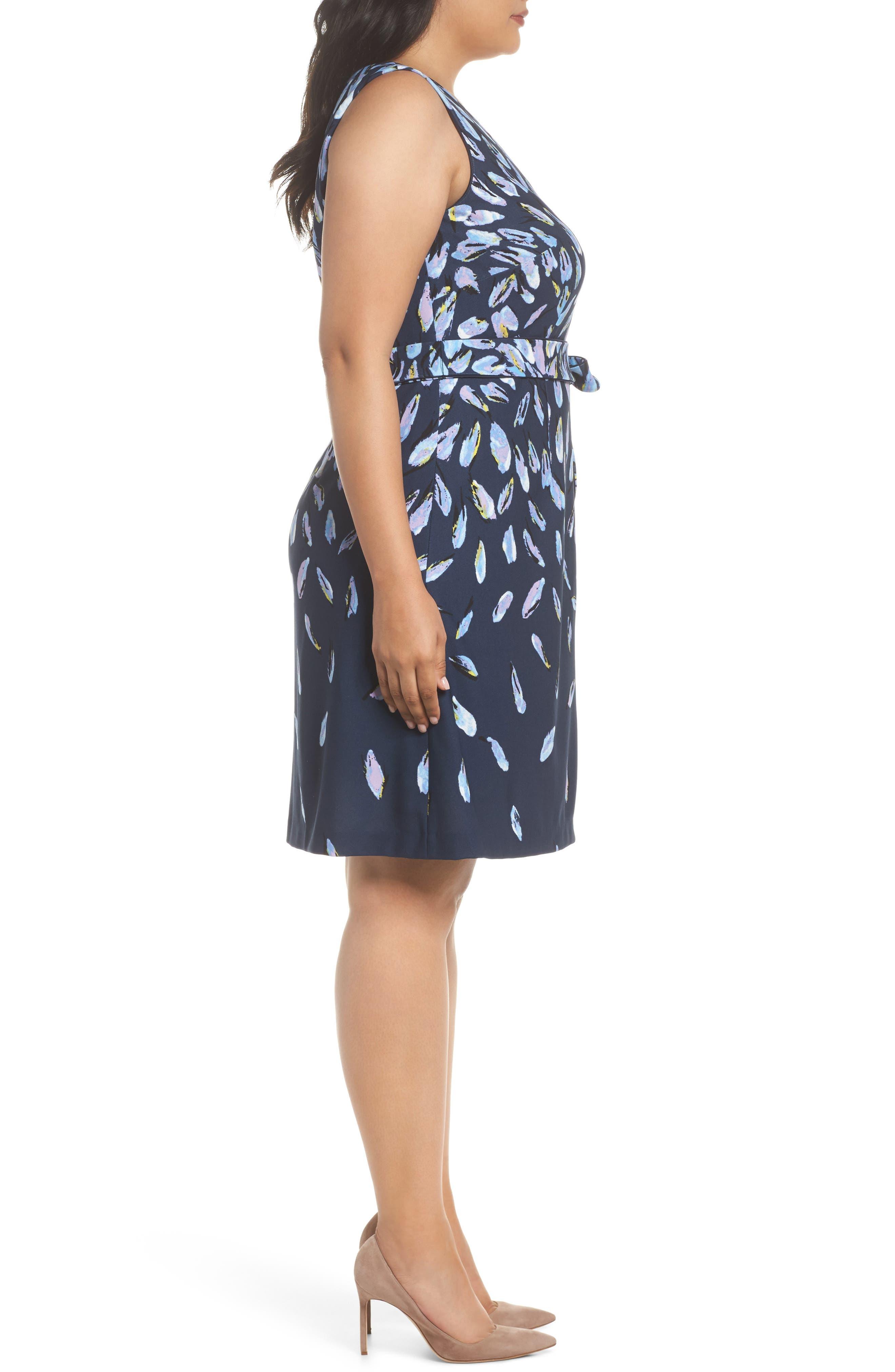 Fluttering Petals Fit & Flare Dress,                             Alternate thumbnail 3, color,                             Navy Multi