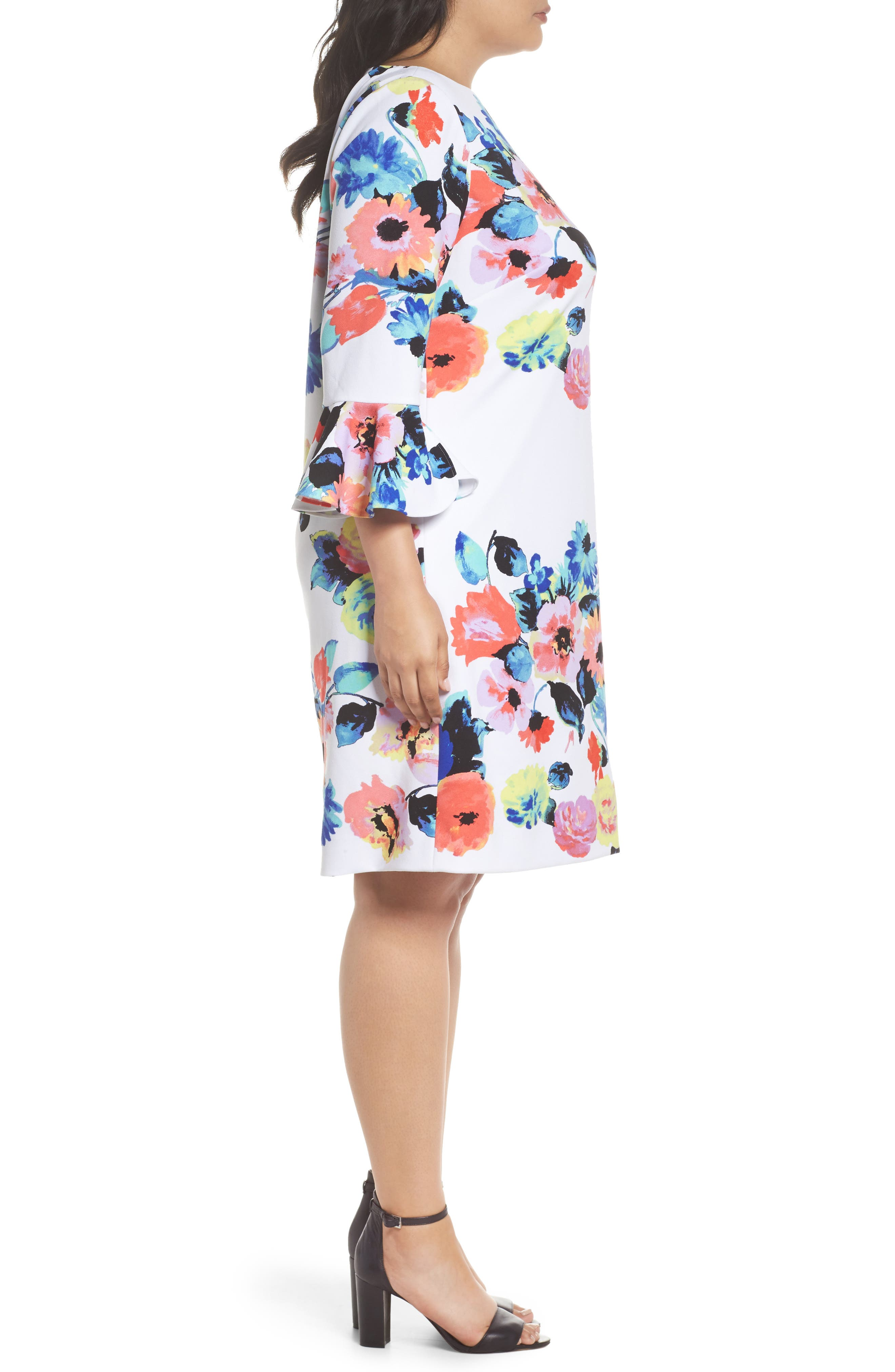 Floral Print Shift Dress,                             Alternate thumbnail 3, color,                             Ivory/ Coral/ Lilac