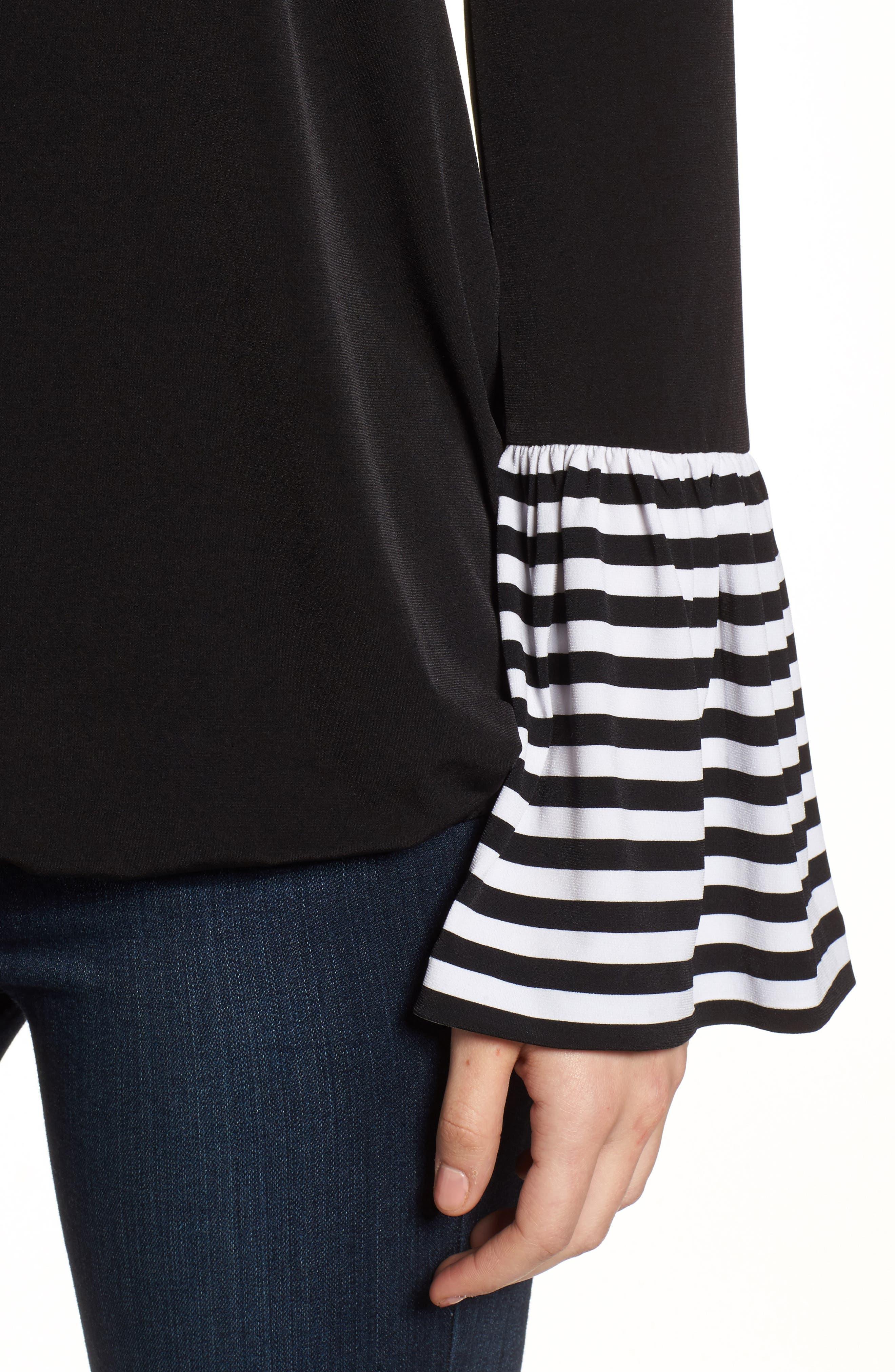 Stripe Cuff Top,                             Alternate thumbnail 4, color,                             Black