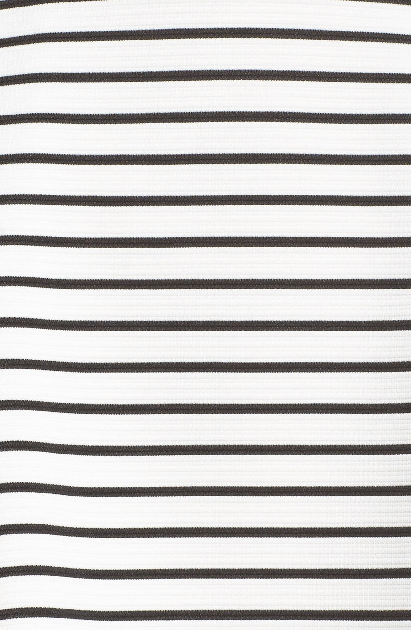 Stripe Fit & Flare Dress,                             Alternate thumbnail 5, color,                             Ivory/ Black