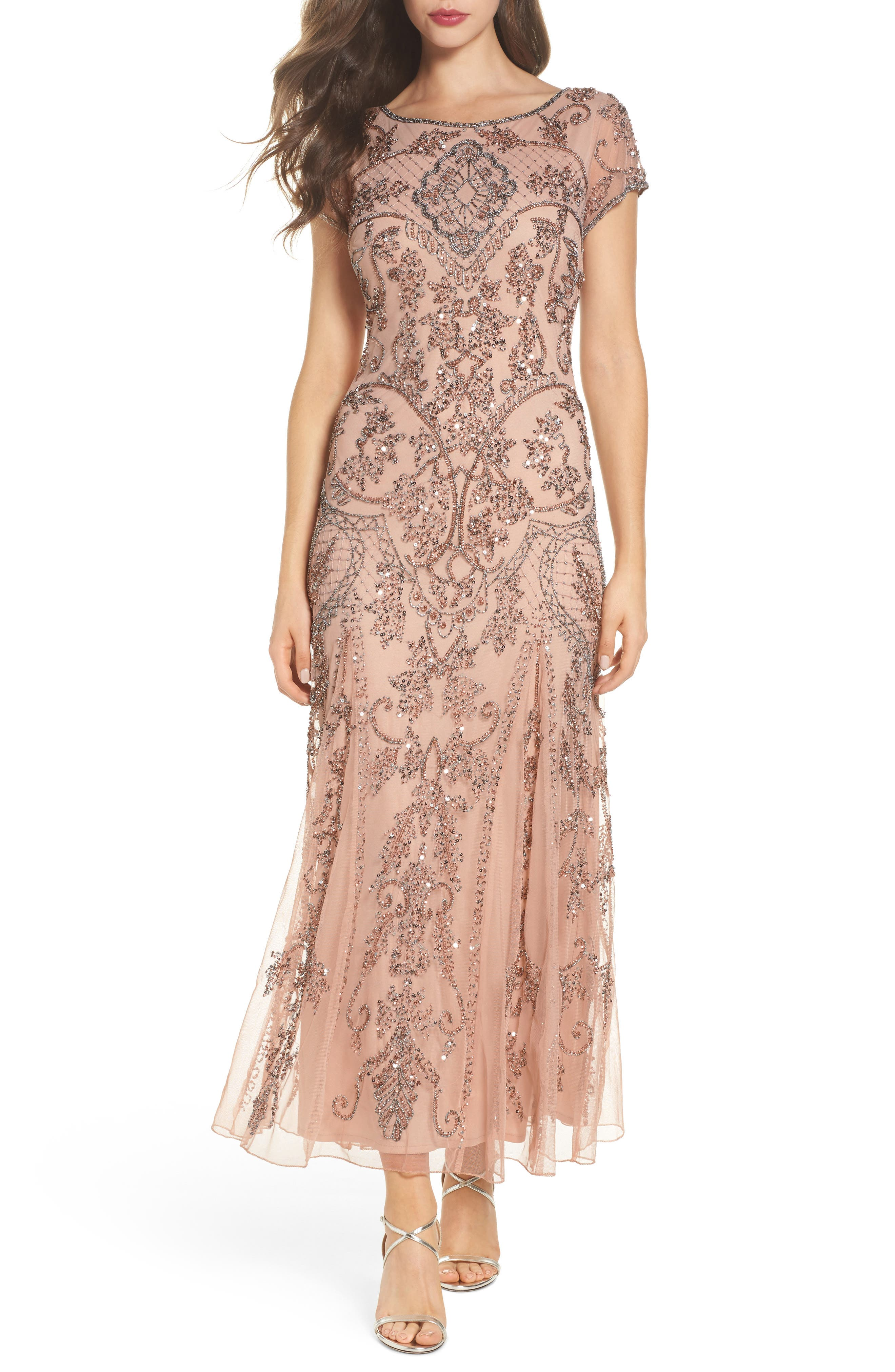 Embellished Mesh Gown,                         Main,                         color, Blush