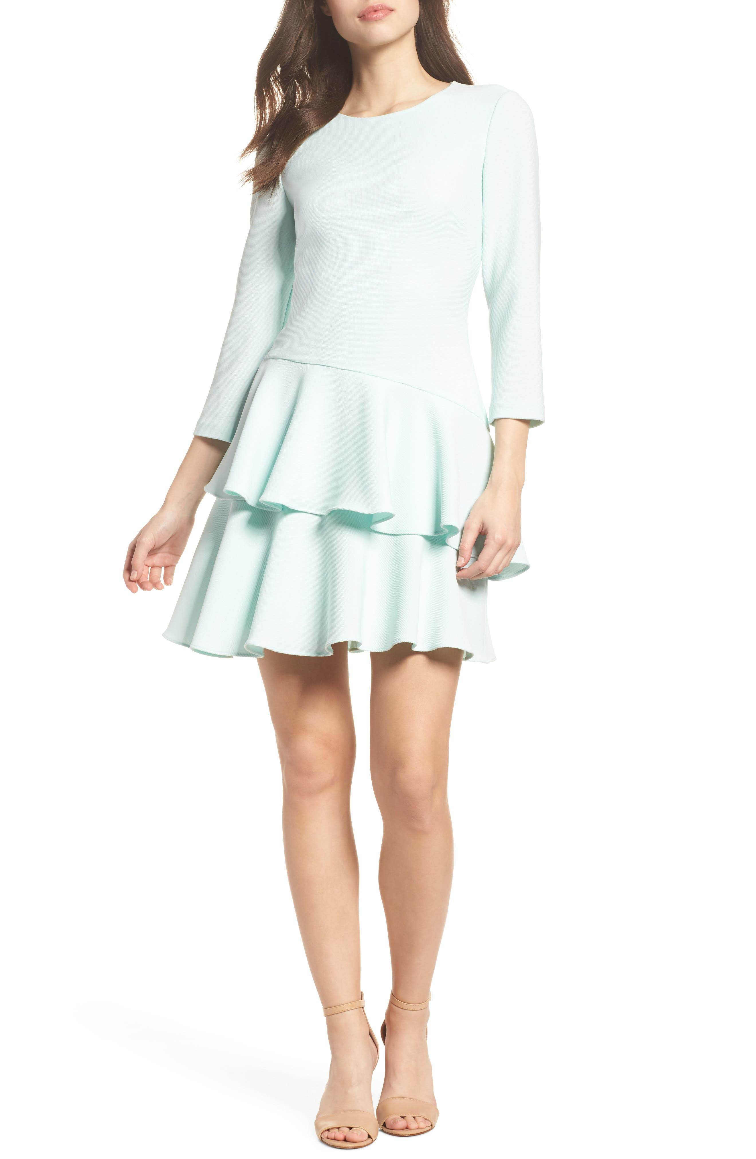 Tiered Ruffle Dress,                         Main,                         color, Mint