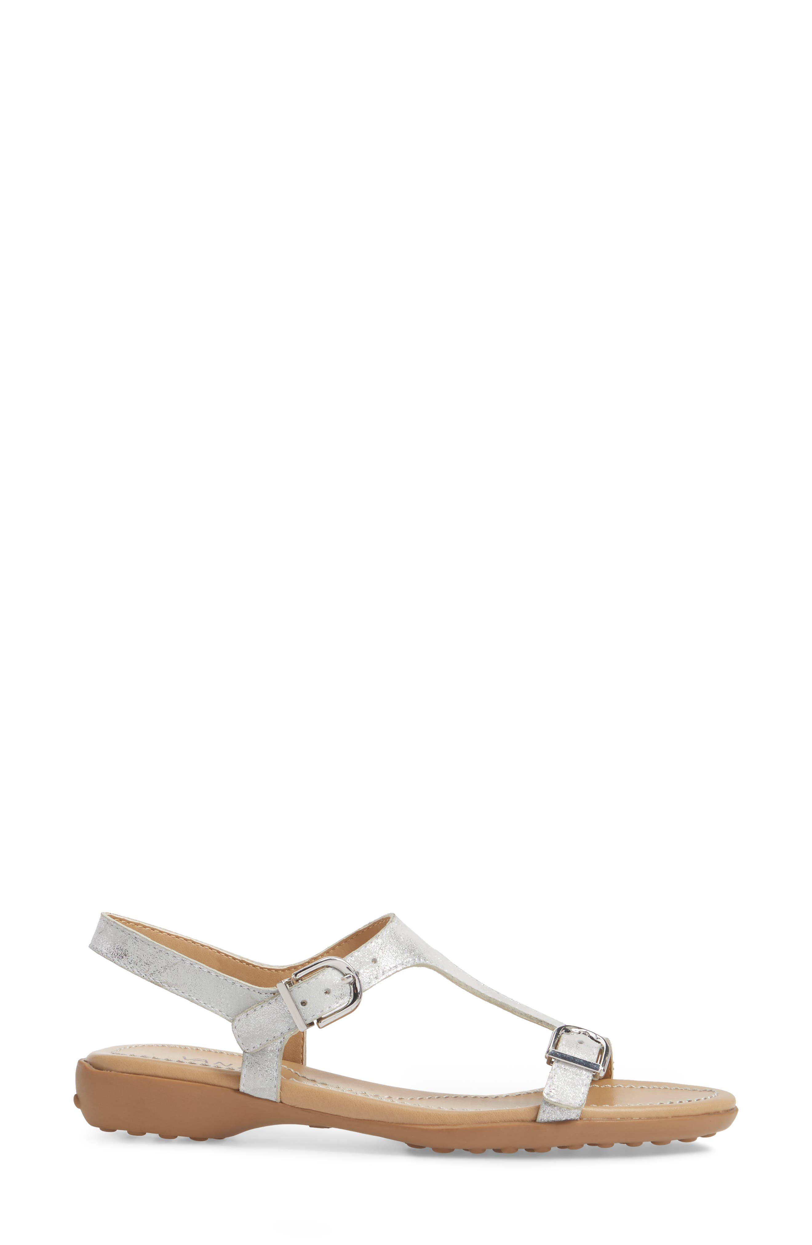 Taletha T-Strap Sandal,                             Alternate thumbnail 3, color,                             Silver Printed Suede