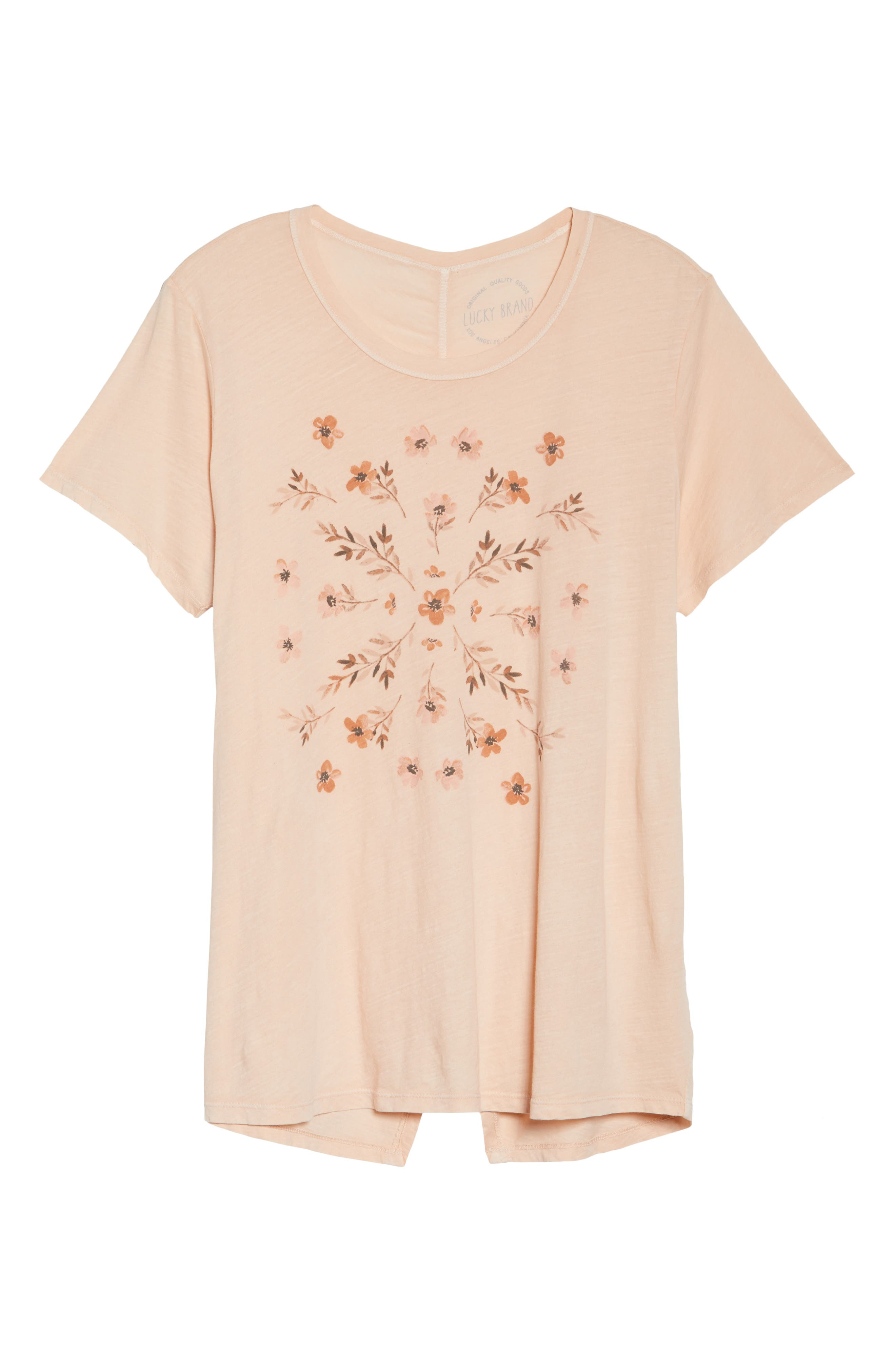 Stamped Flowers Tee,                             Alternate thumbnail 6, color,                             Shell