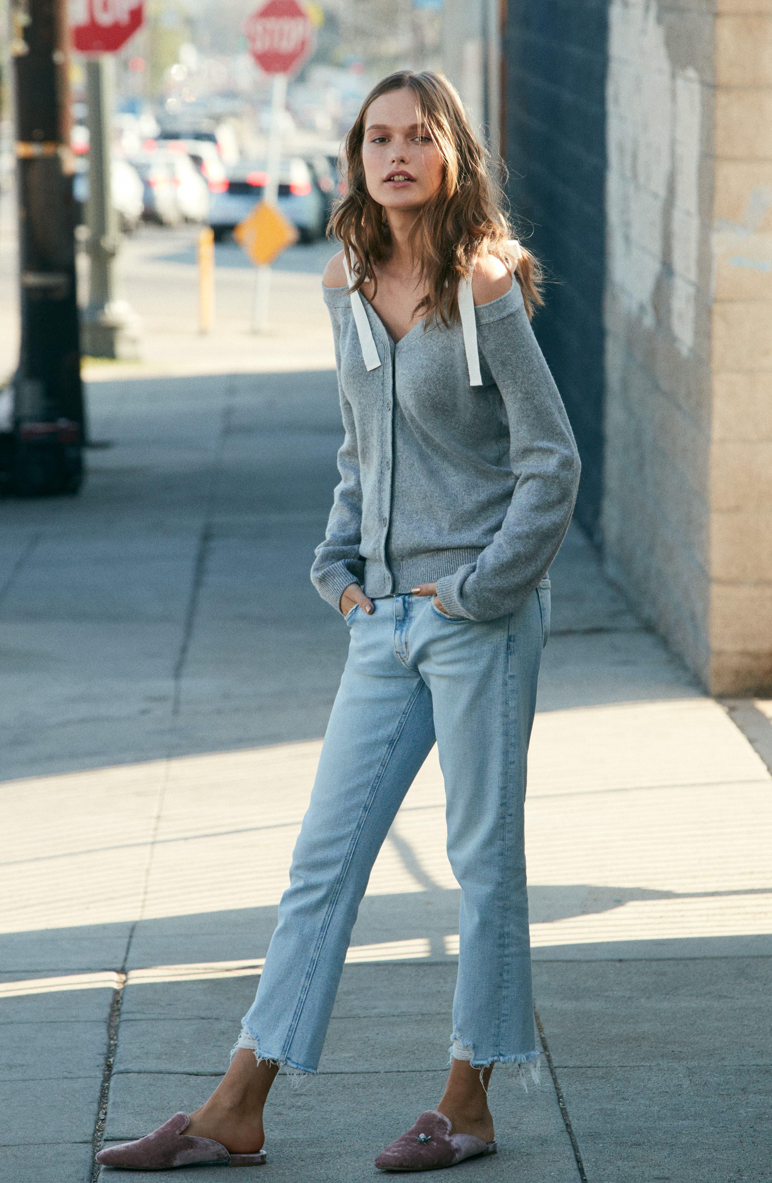 The Cropped Straight Leg Jeans,                             Alternate thumbnail 2, color,                             Cascade W/ Punk Hem