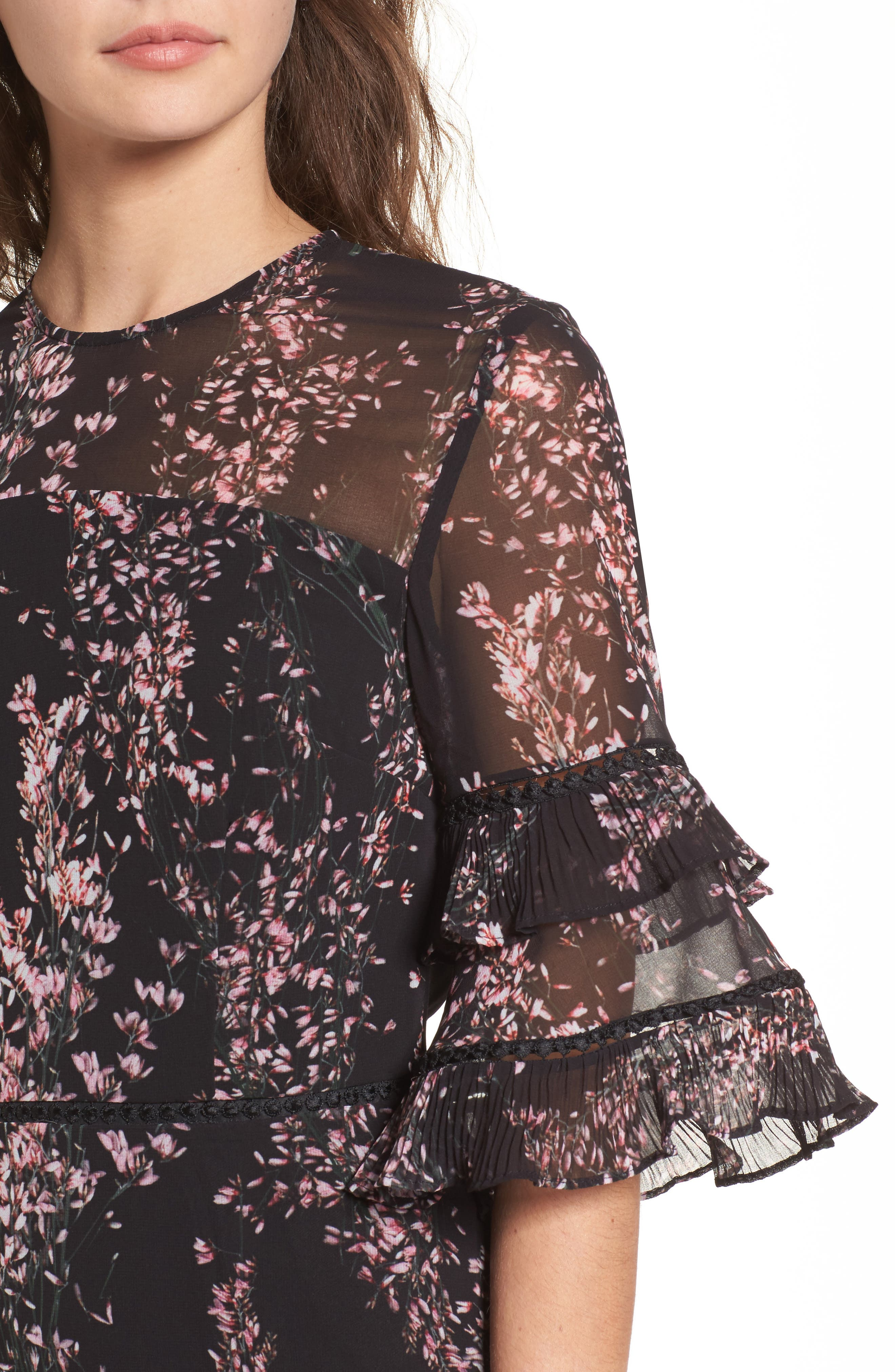 Light Up Ruffle Minidress,                             Alternate thumbnail 4, color,                             Black Wildflower Floral
