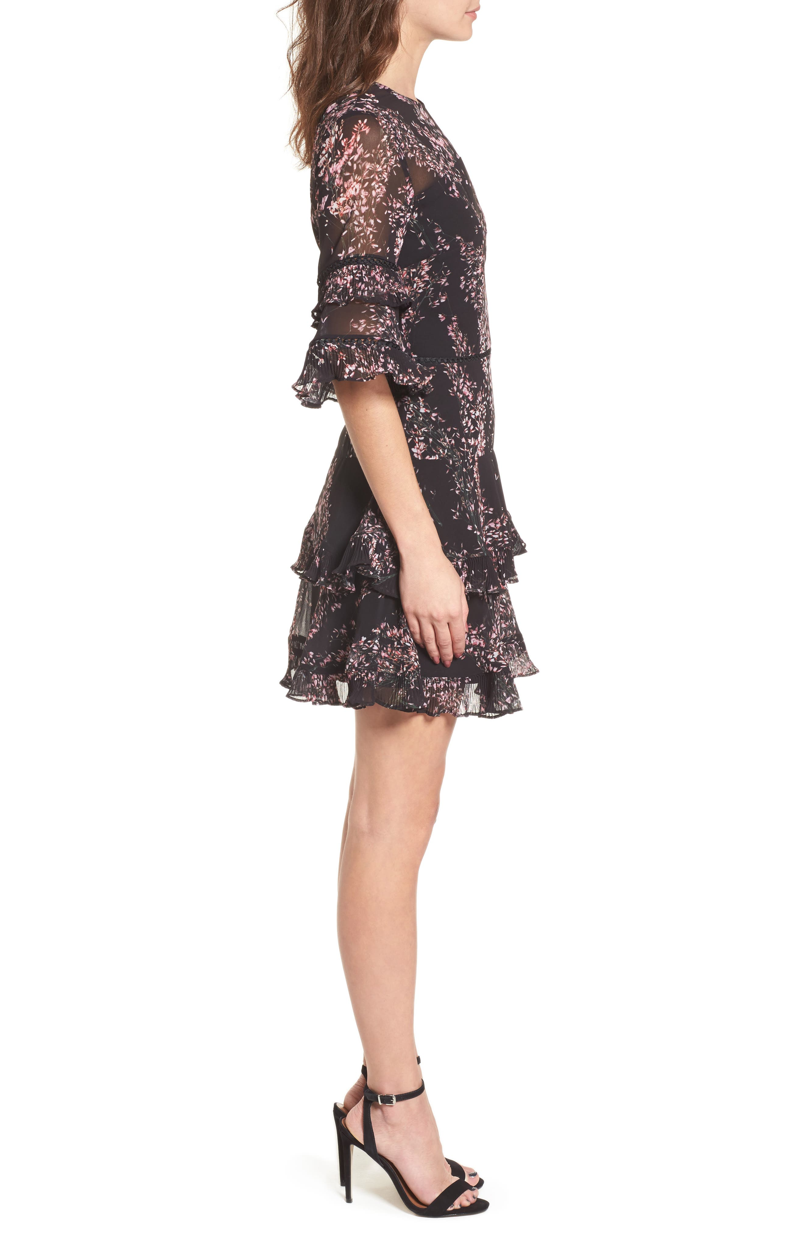 Light Up Ruffle Minidress,                             Alternate thumbnail 3, color,                             Black Wildflower Floral