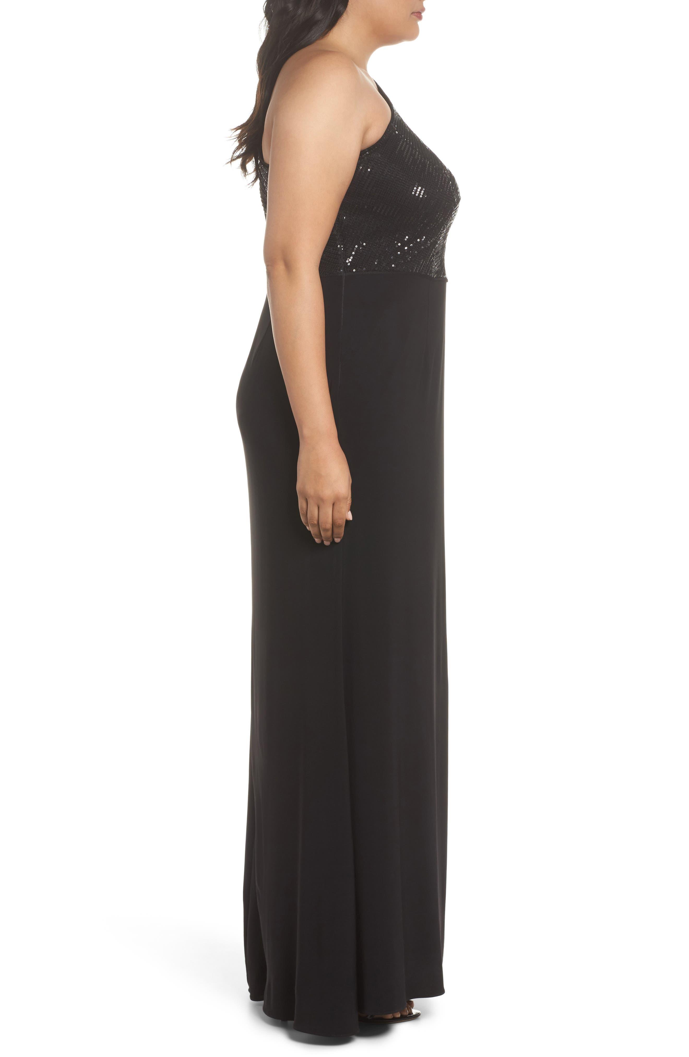 Sequin & Jersey One-Shoulder Gown,                             Alternate thumbnail 3, color,                             Black