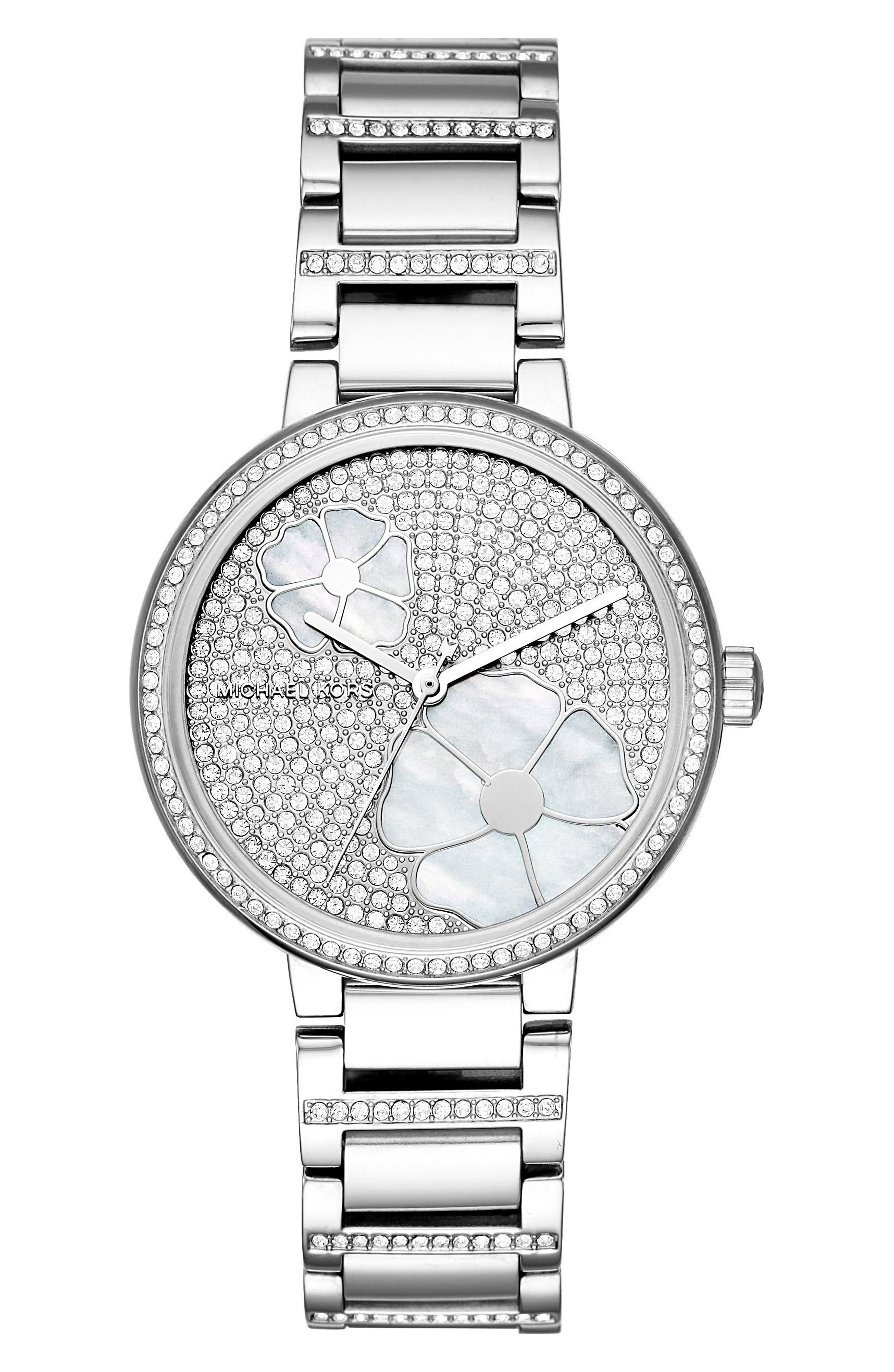 Courtney Crystal Bracelet Watch, 36mm,                             Main thumbnail 1, color,                             Silver