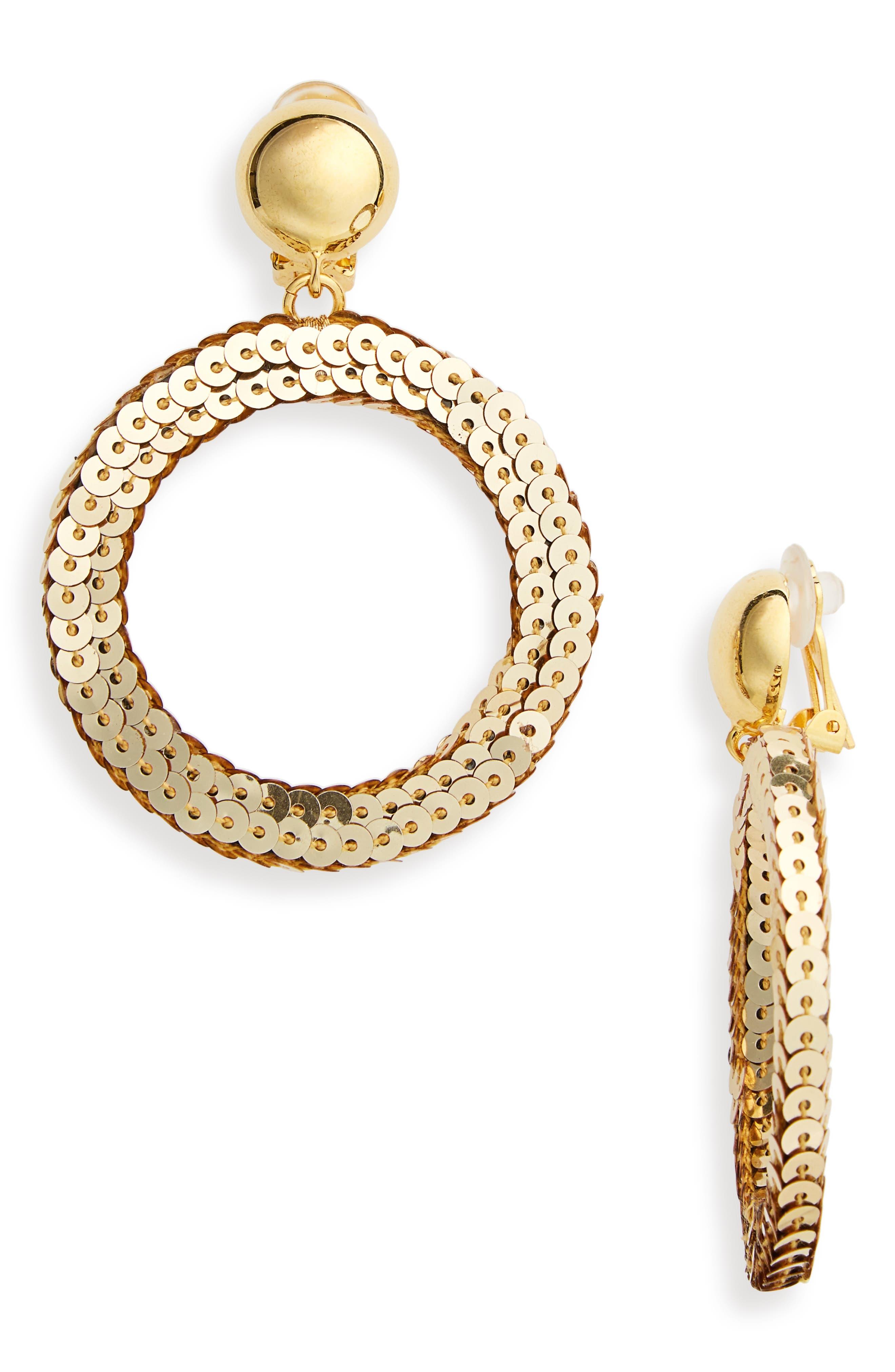 Oscar de la Renta Sequin Drop Earrings