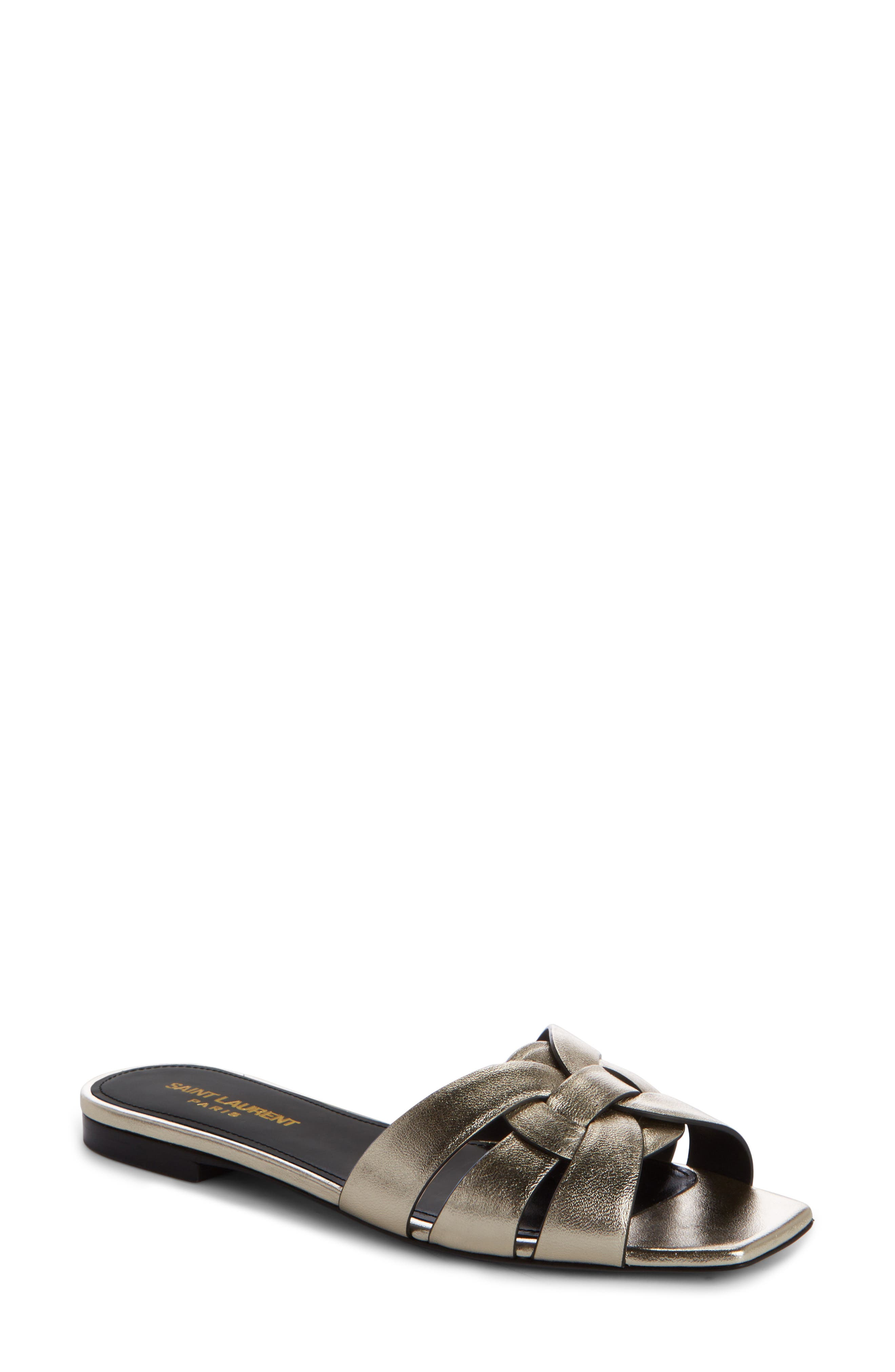 Nu Pieds Strappy Slide Sandal,                             Main thumbnail 1, color,                             7100 Or Pale