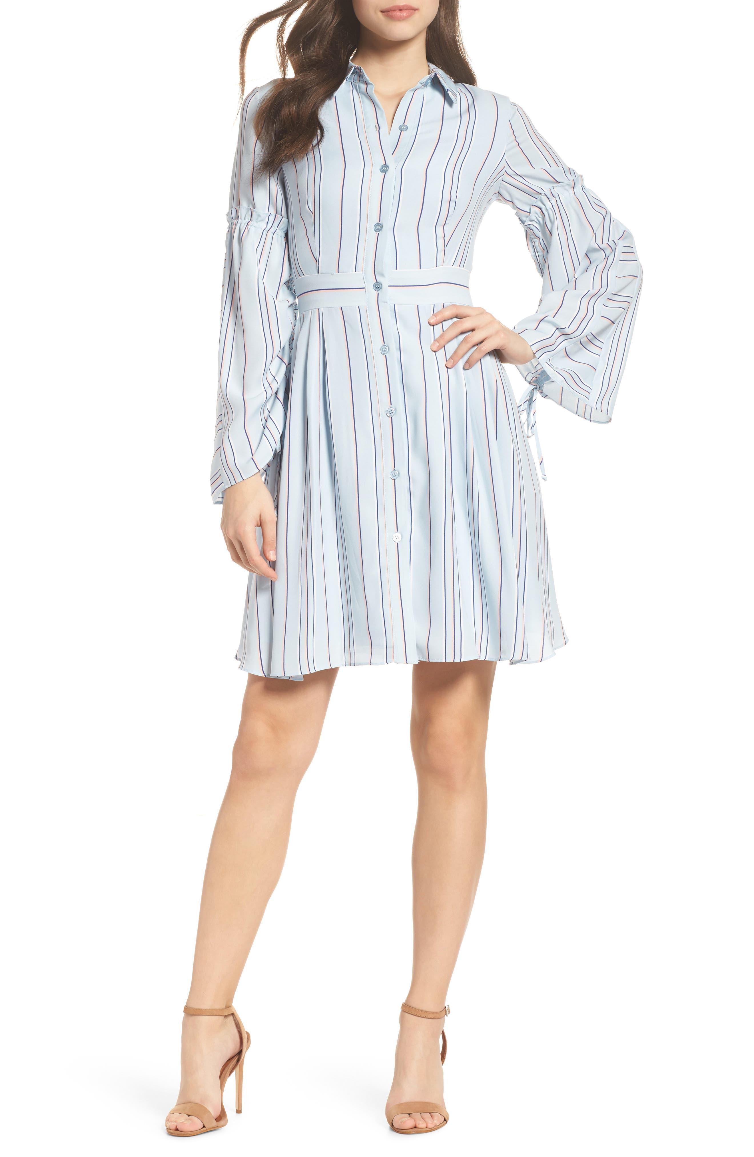 Stripe Shirtdress,                             Main thumbnail 1, color,                             Powder Blue Multi