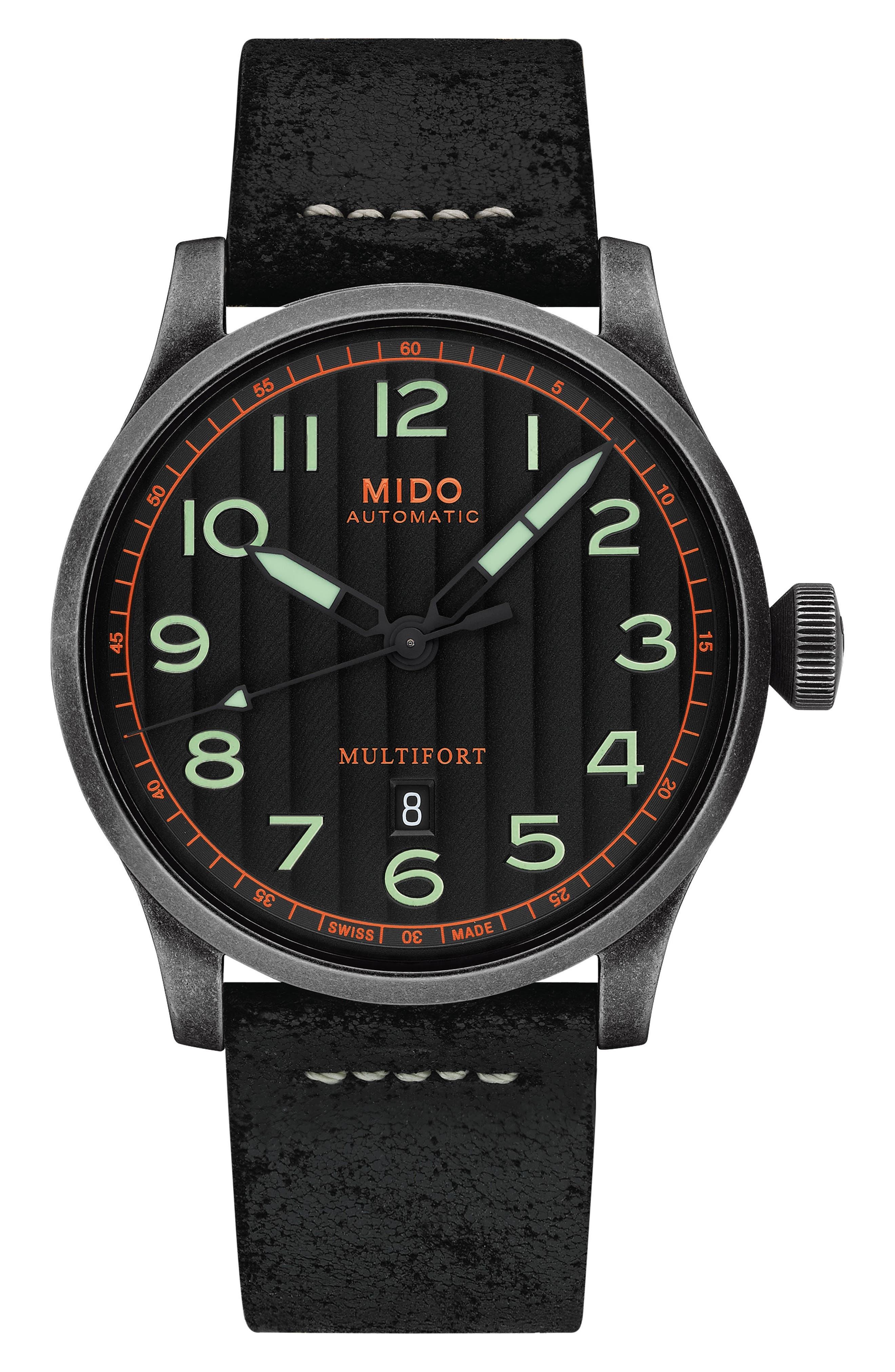 Multifort Escape Leather Strap Watch, 44mm,                         Main,                         color, Black/ Silver