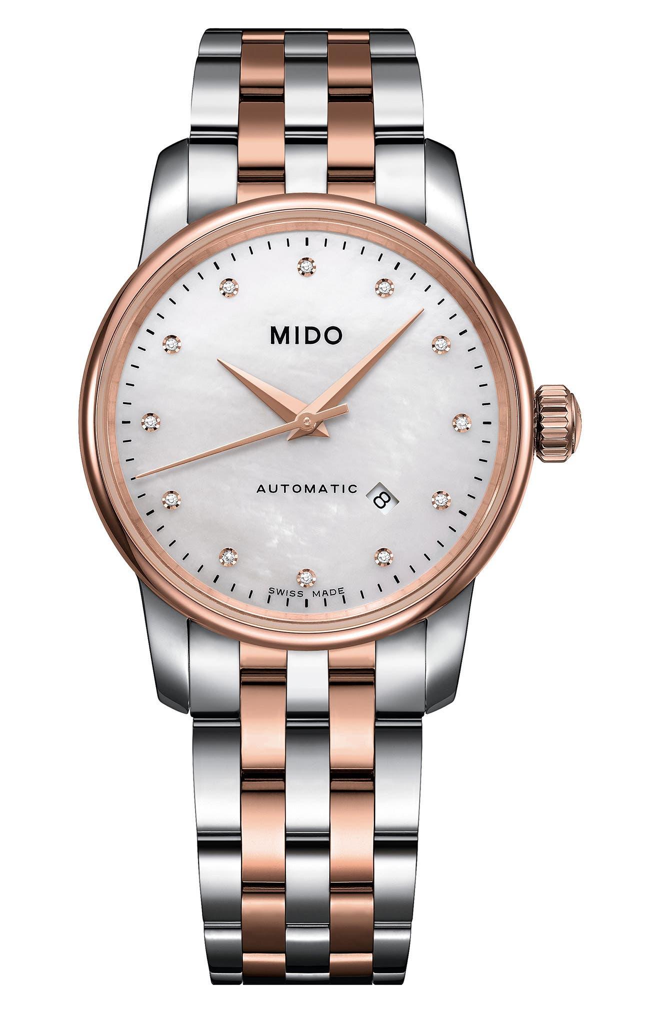 Main Image - Mido Baroncelli Diamond Bracelet Watch, 29mm