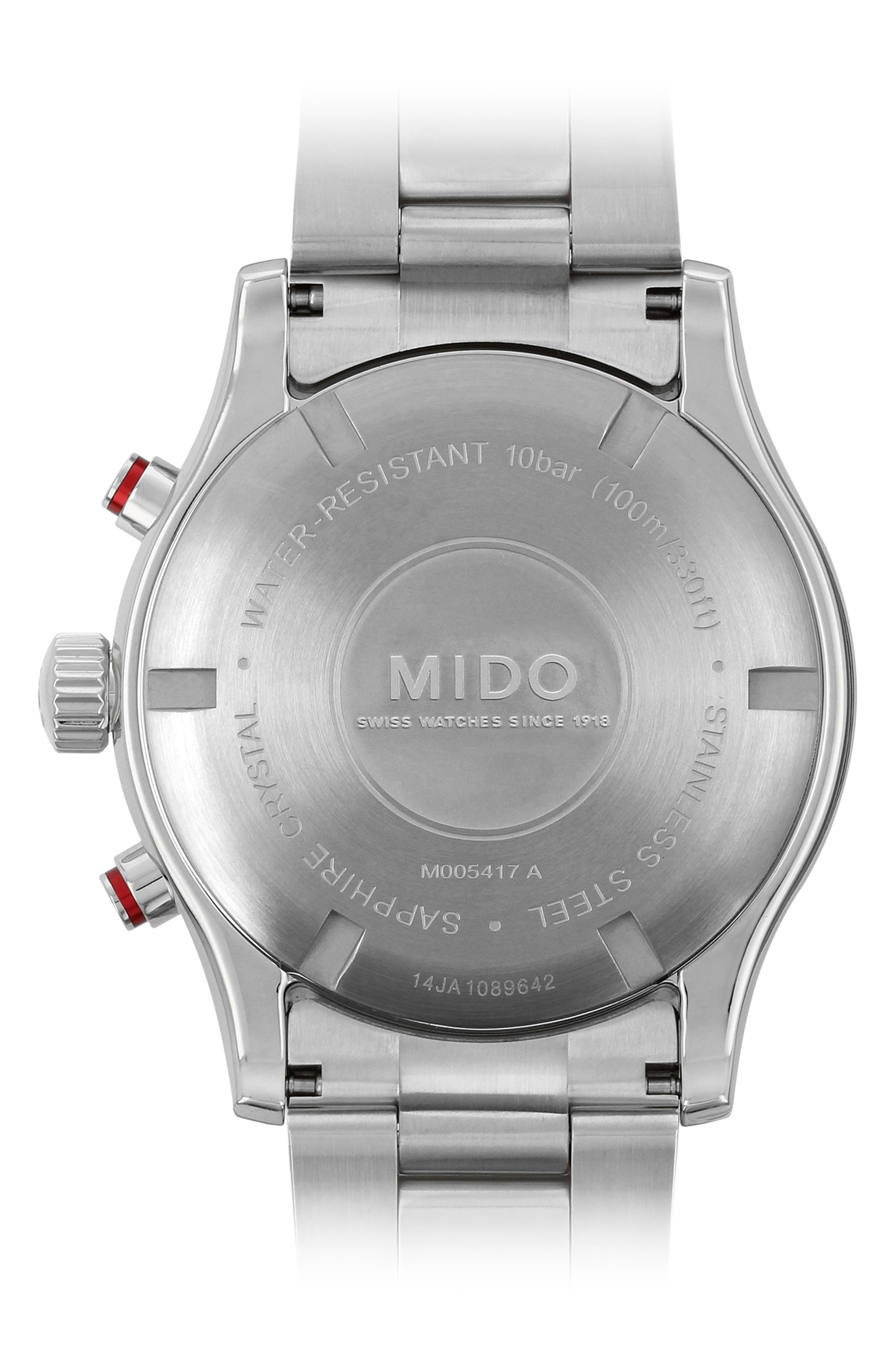 Multifort Chronograph Bracelet Watch, 42mm,                             Alternate thumbnail 3, color,                             Silver/ White/ Silver