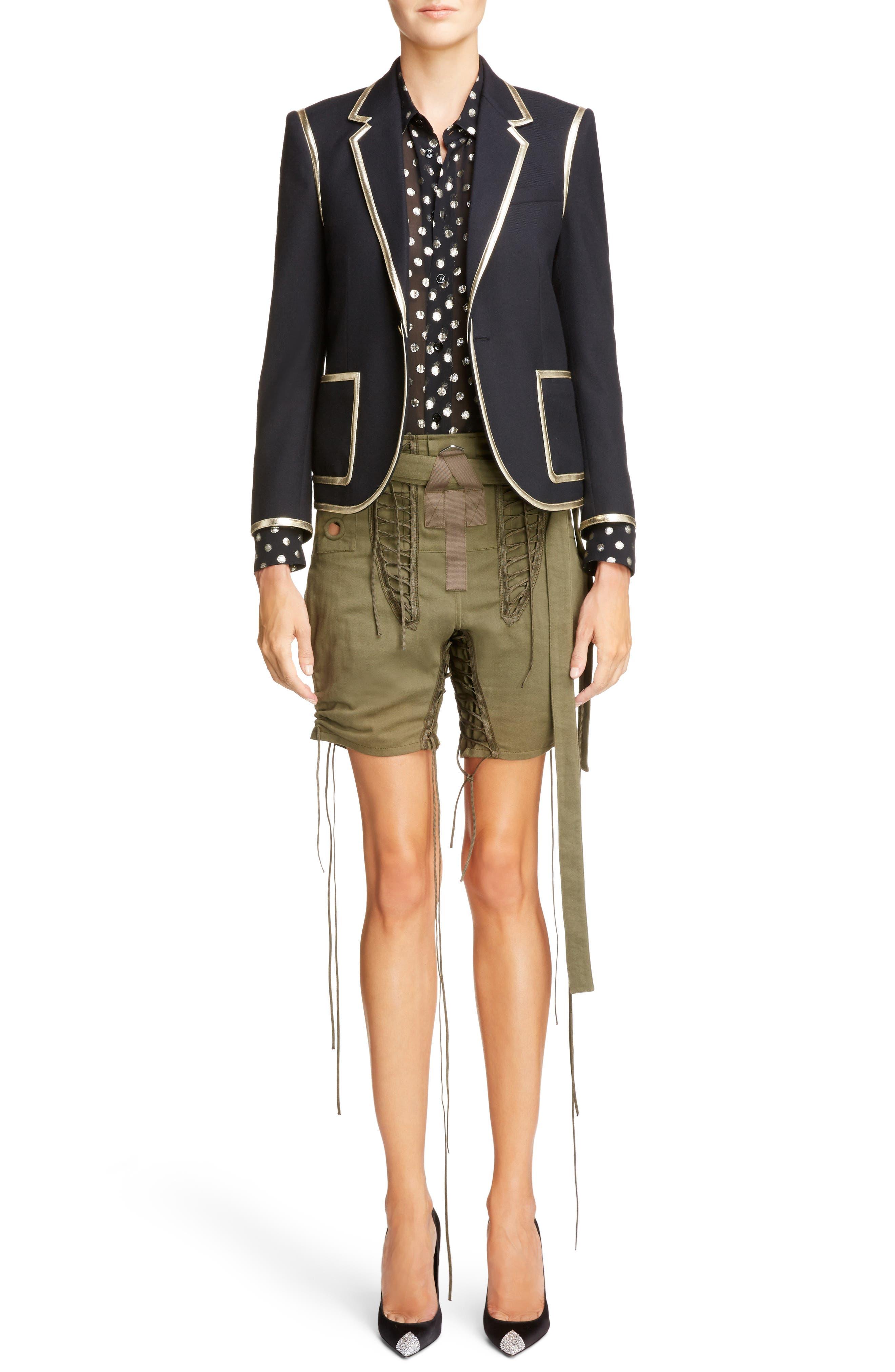 Laced Cotton & Linen Shorts,                             Alternate thumbnail 3, color,                             Kaki