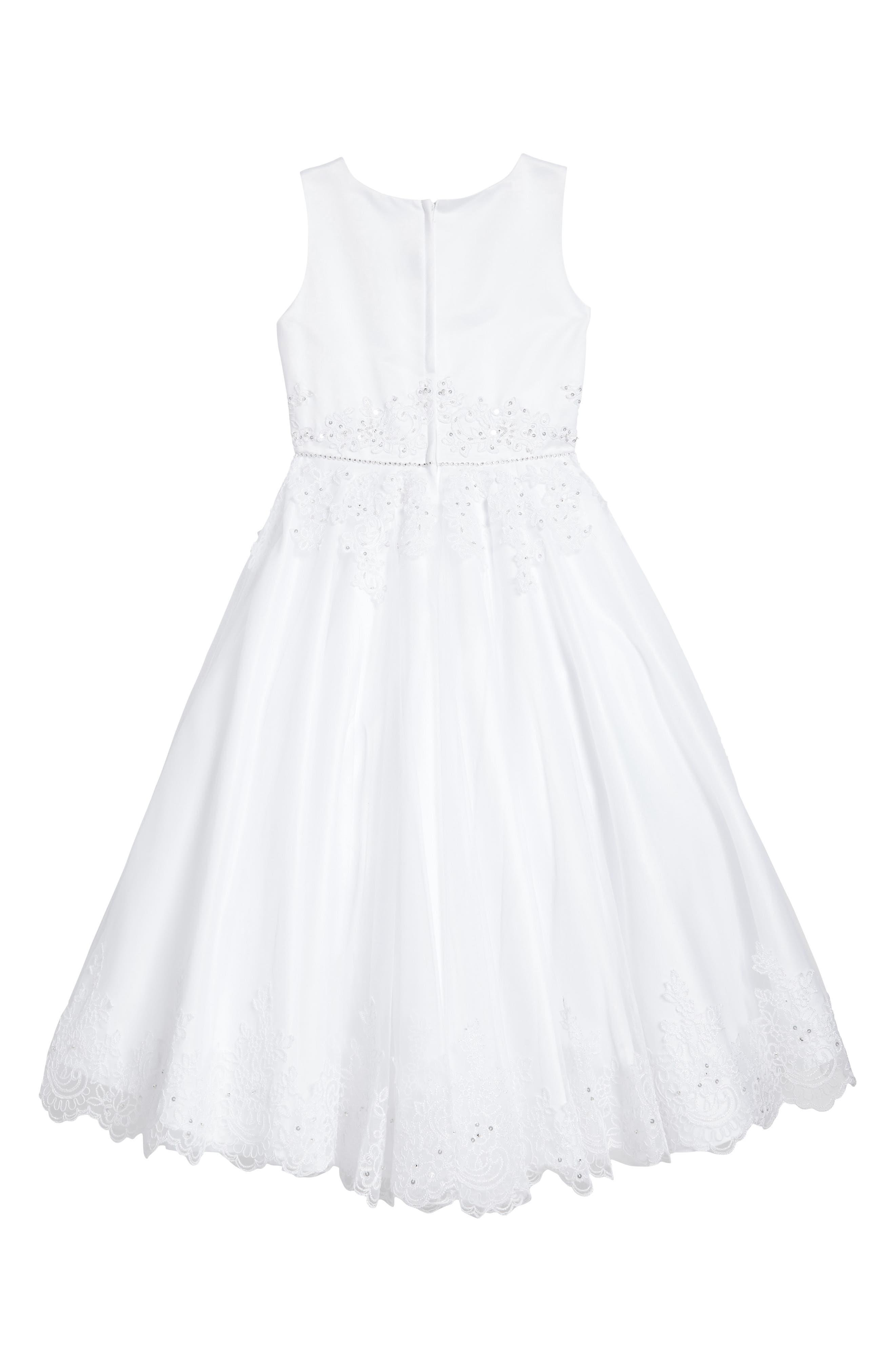 Satin & Tulle First Communion Dress,                             Alternate thumbnail 2, color,                             White