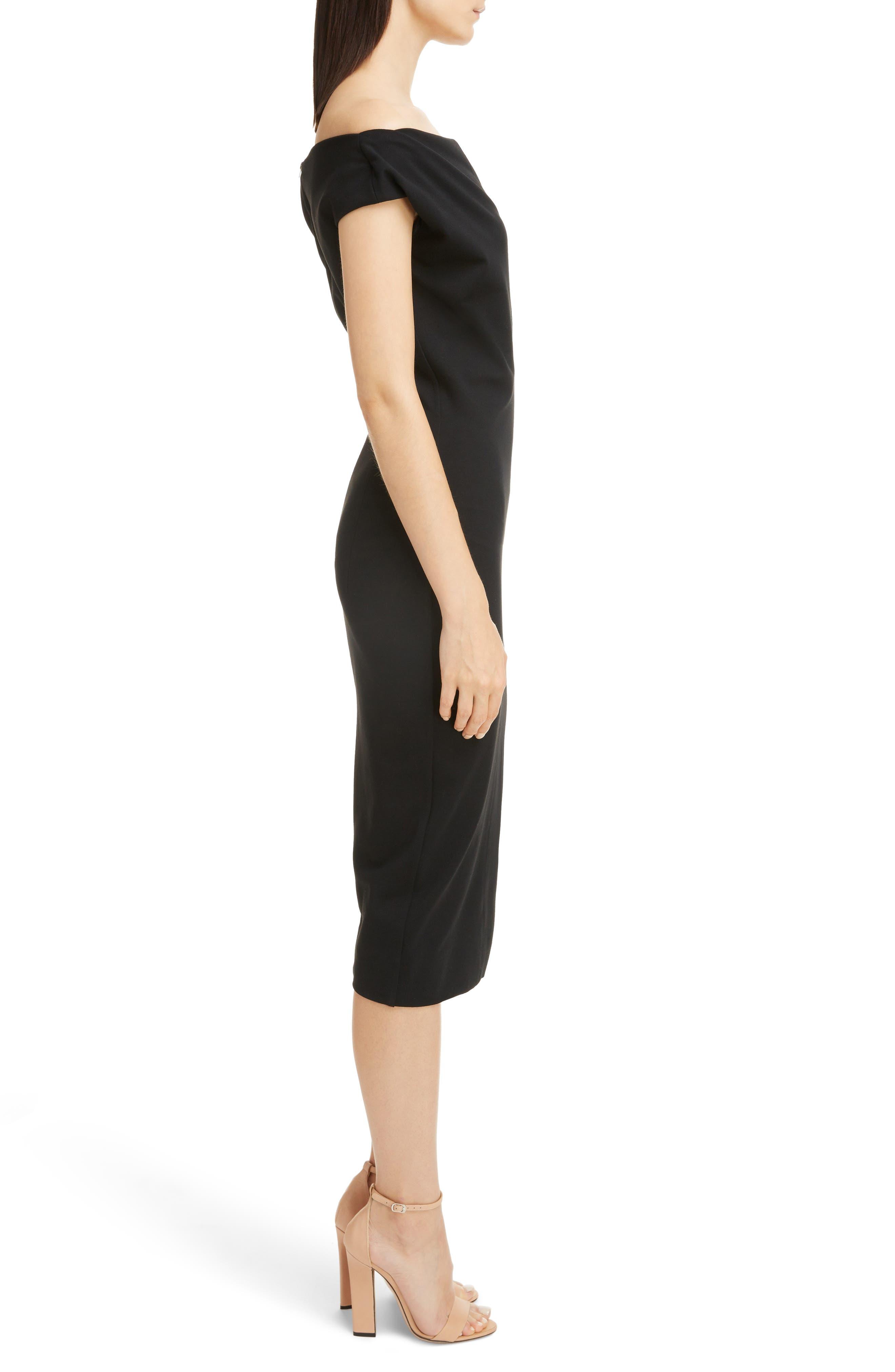 Matte Jersey Off the Shoulder Dress,                             Alternate thumbnail 3, color,                             Black