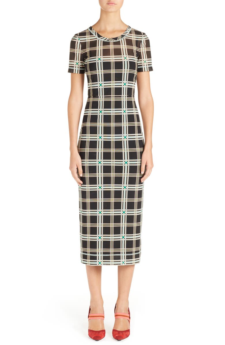 Plaid Midi Sheath Dress