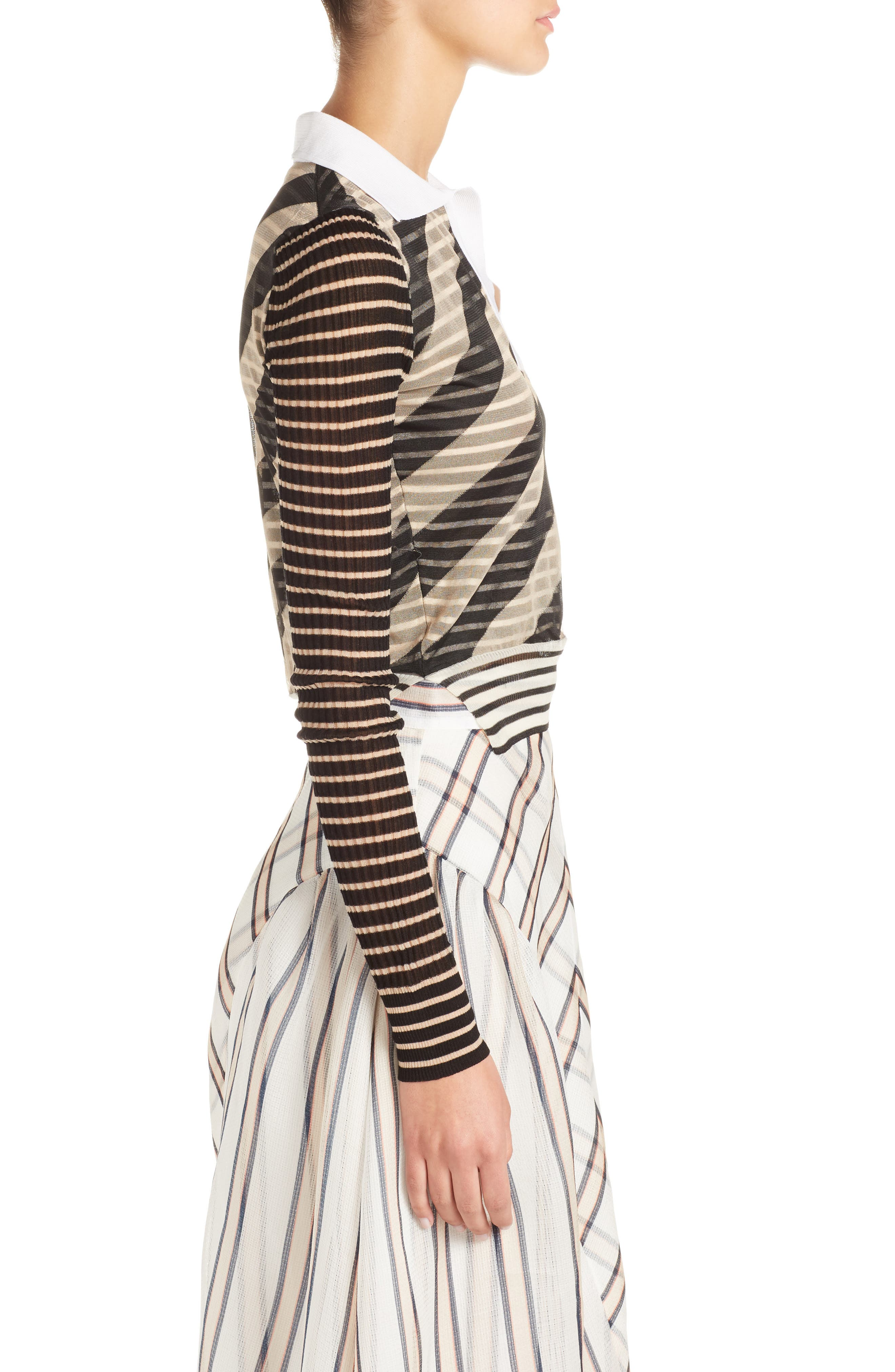 Mixed Stripe Top,                             Alternate thumbnail 3, color,                             Nude/ Black