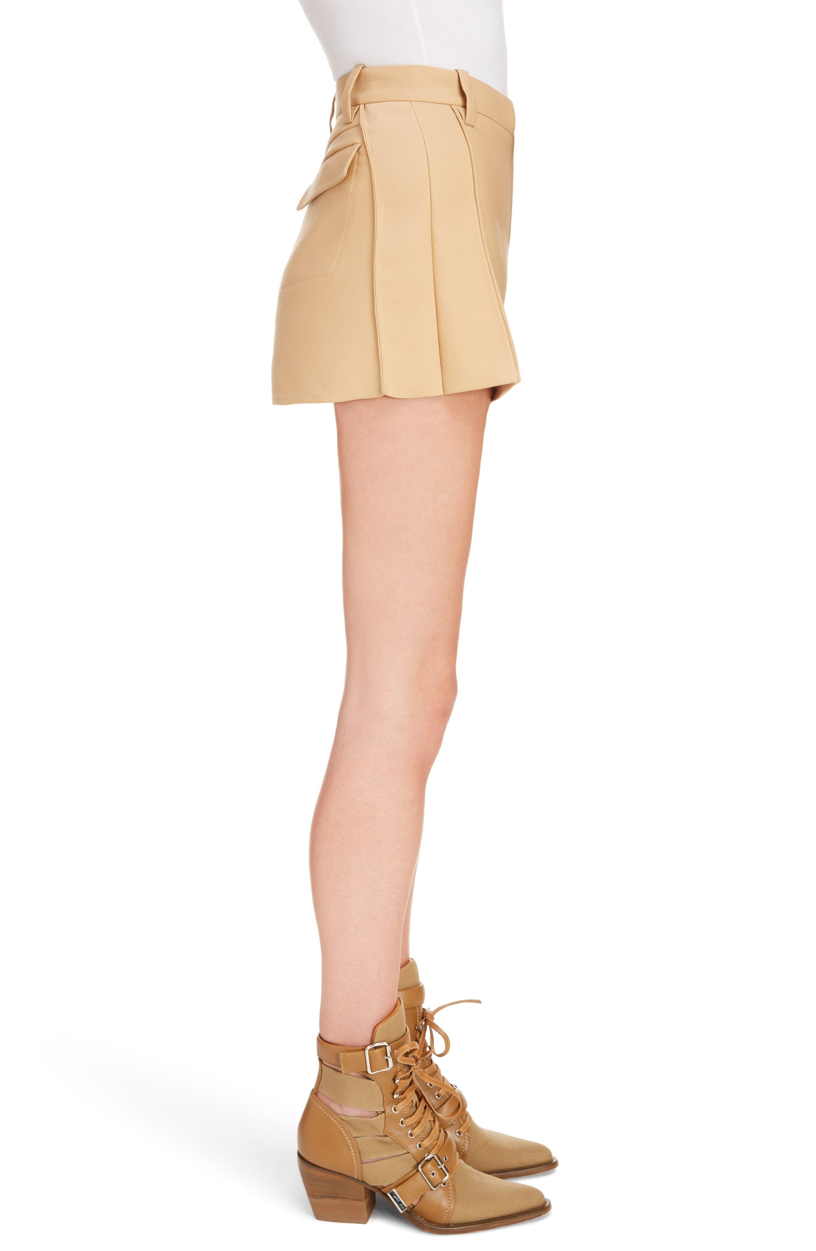 Side Pleat Wool & Silk Blend Shorts,                             Alternate thumbnail 4, color,                             Quiet Brown