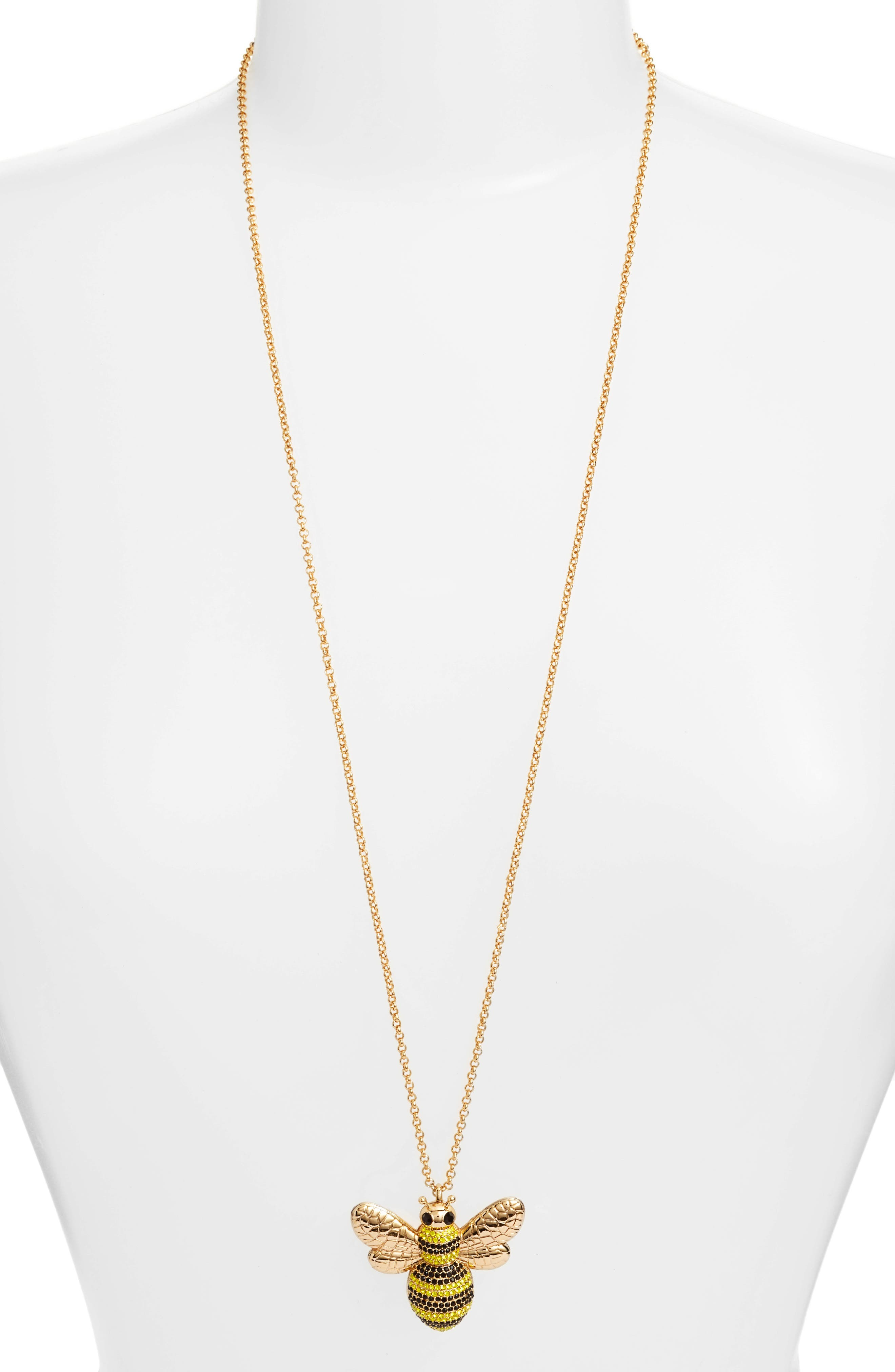 kate spade picnic perfect pave bee pendant necklace,                         Main,                         color, Multi
