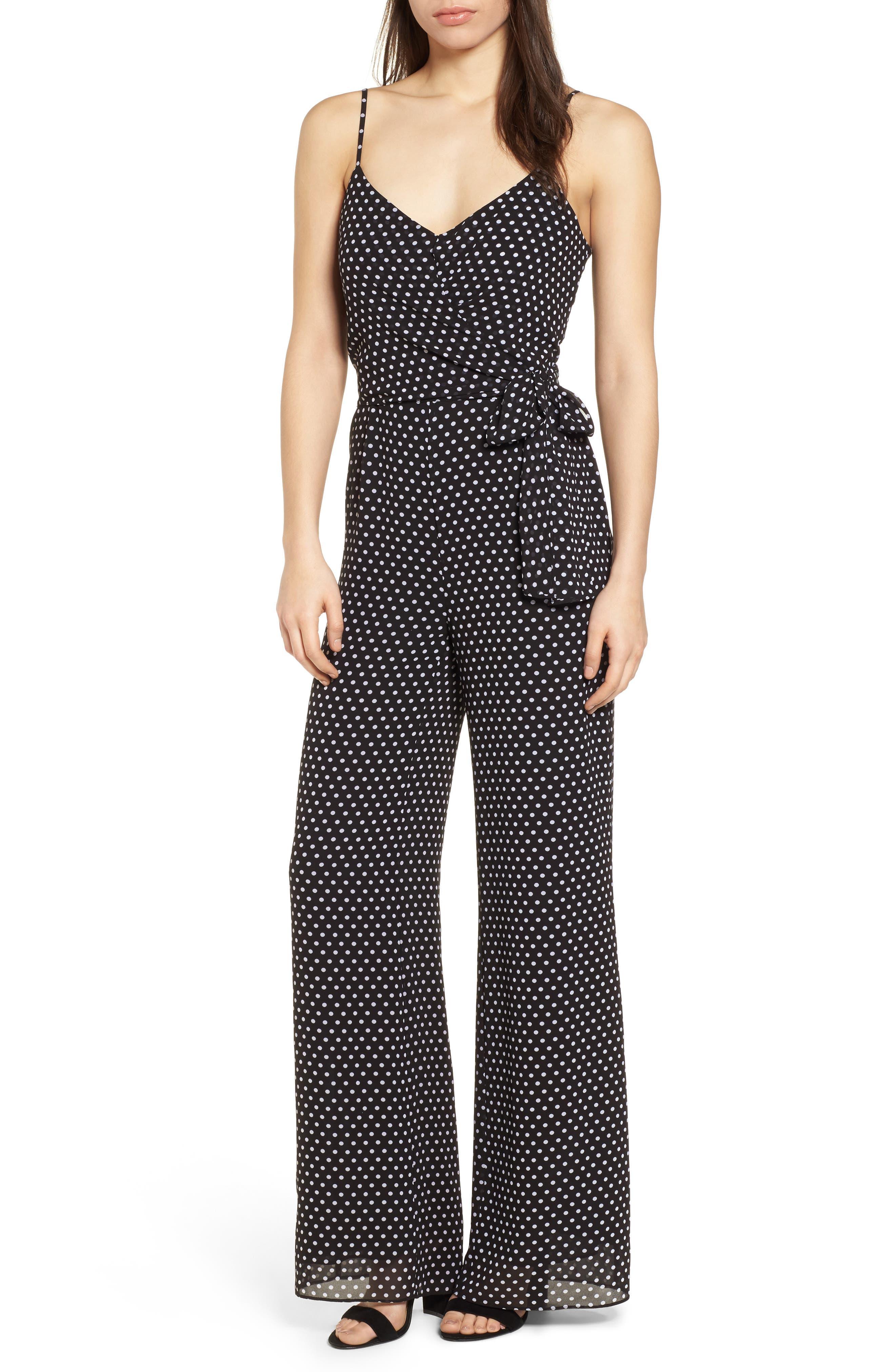 Simple Dot Side Tie Jumpsuit,                             Main thumbnail 1, color,                             Black/ White