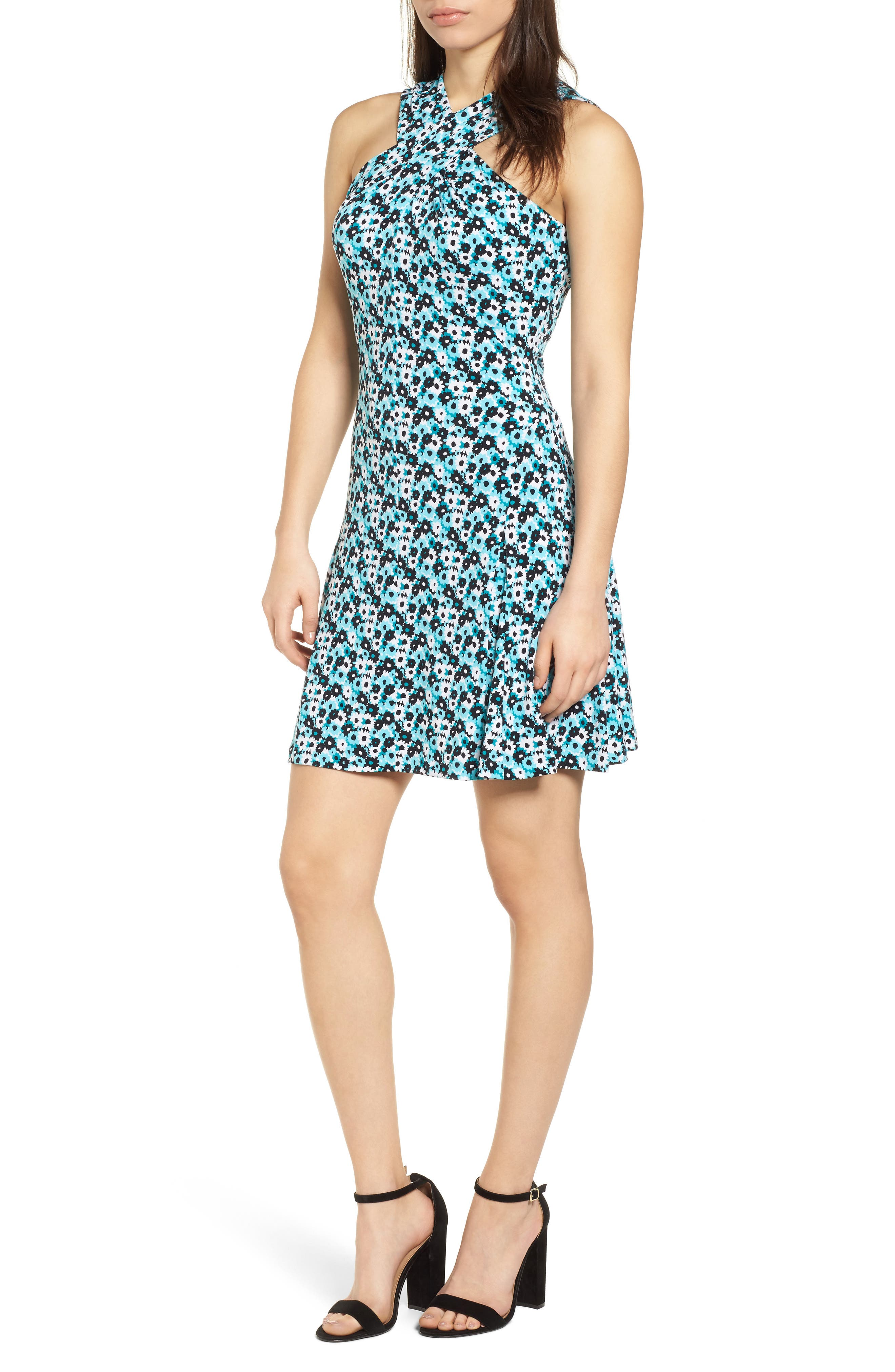 Carnations Cross Neck Fit and Flare Dress,                             Main thumbnail 1, color,                             Tile Blue/ Black Multi