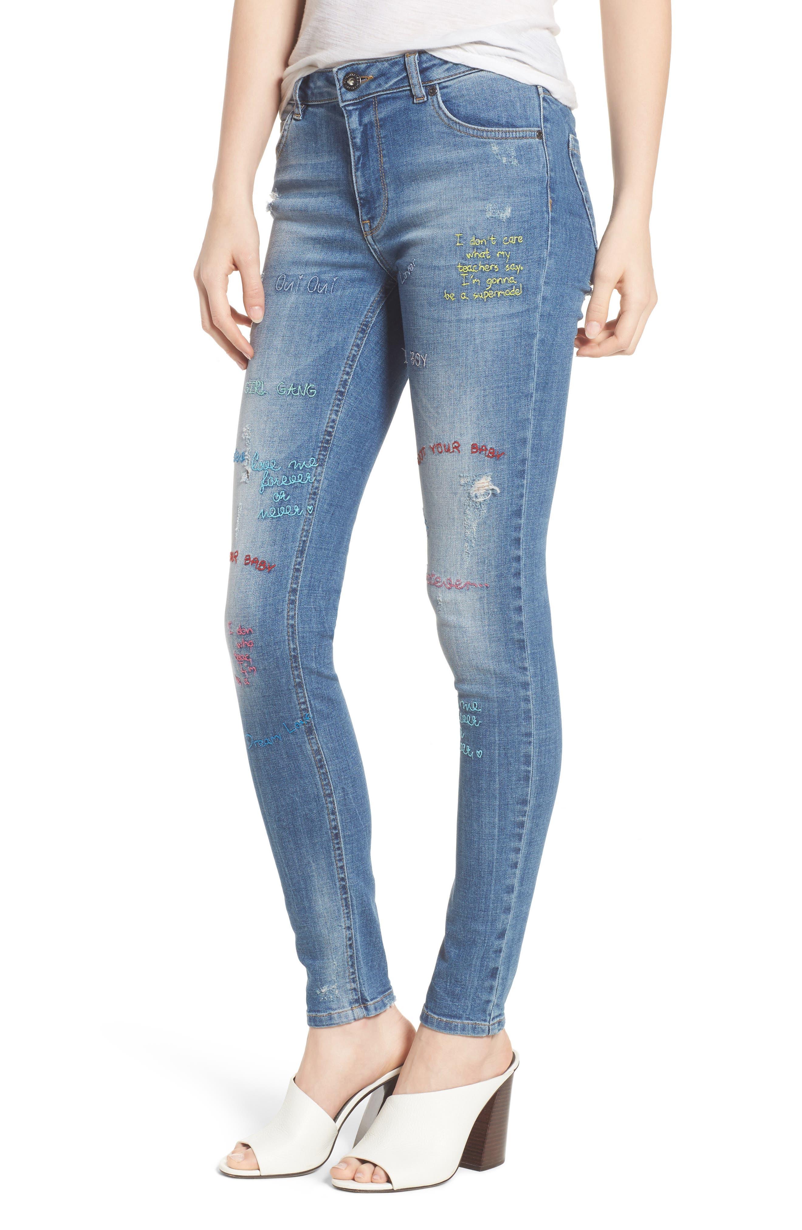 Paradise High Waist Skinny Jeans,                         Main,                         color, Mid Blue