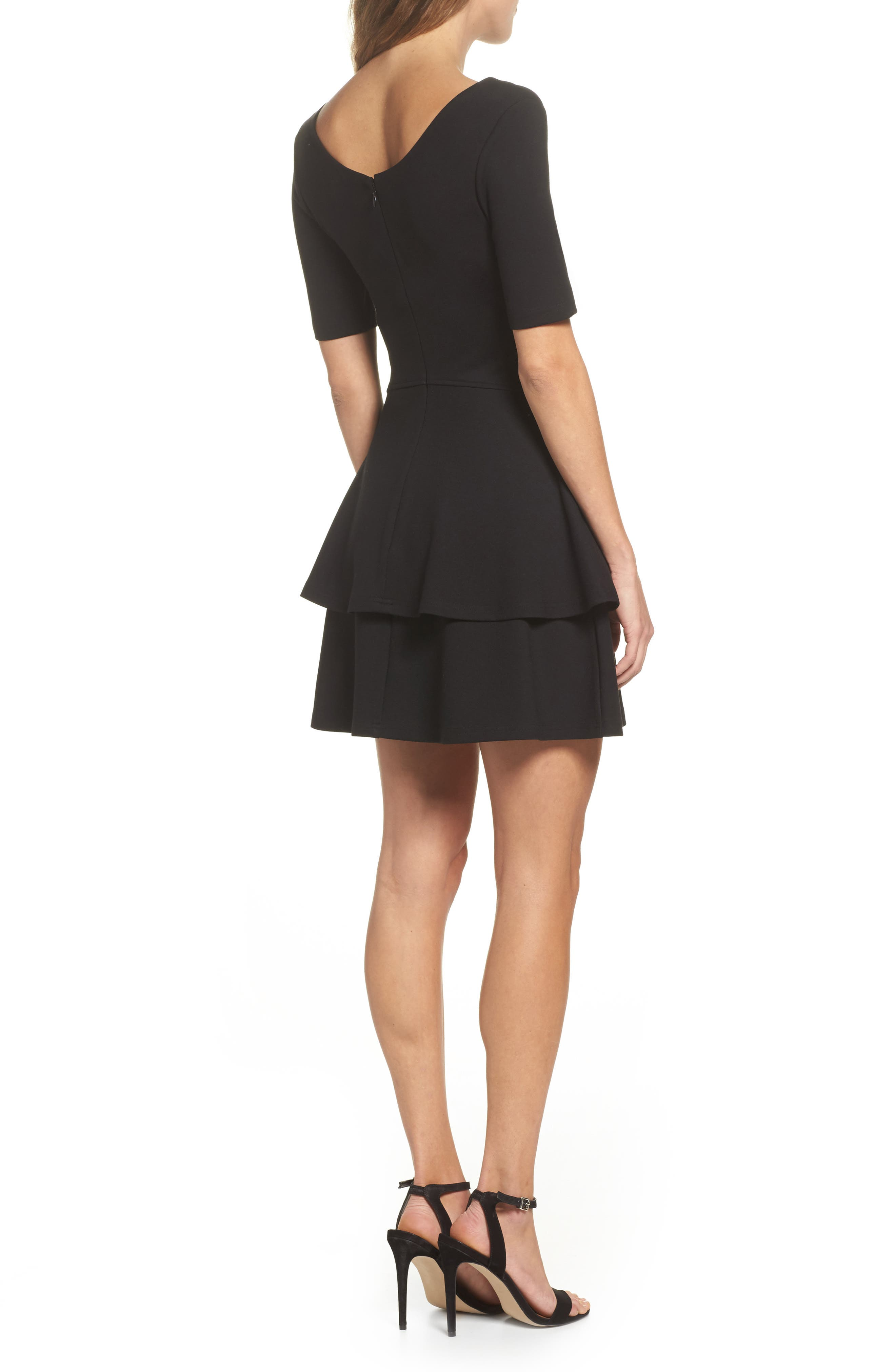 Isn't It Sweet Fit & Flare Dress,                             Alternate thumbnail 3, color,                             Black